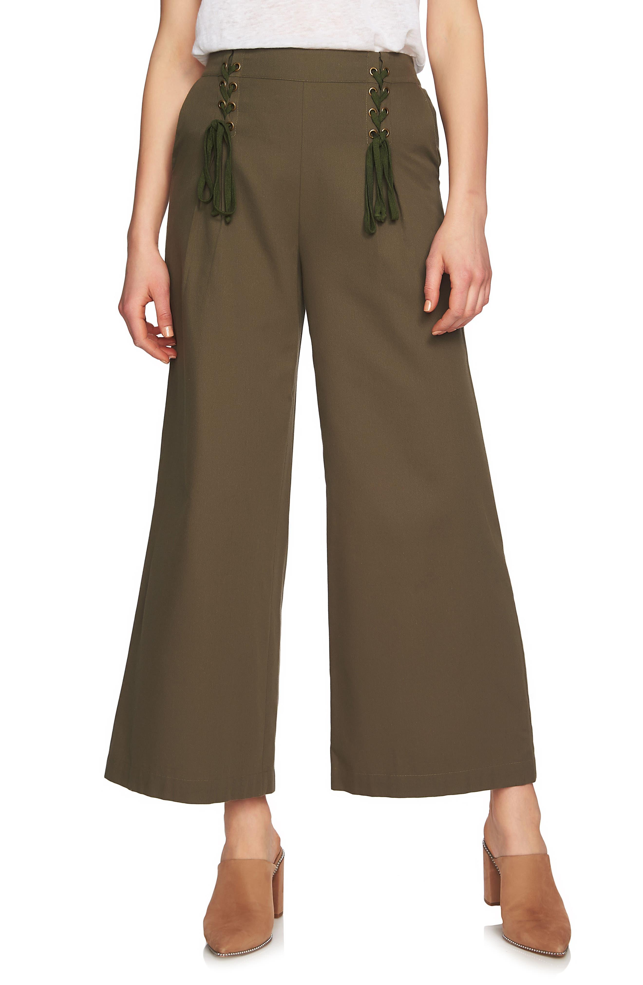 Lace-Up Detail Wide Leg Pants,                         Main,                         color, Olive Tree