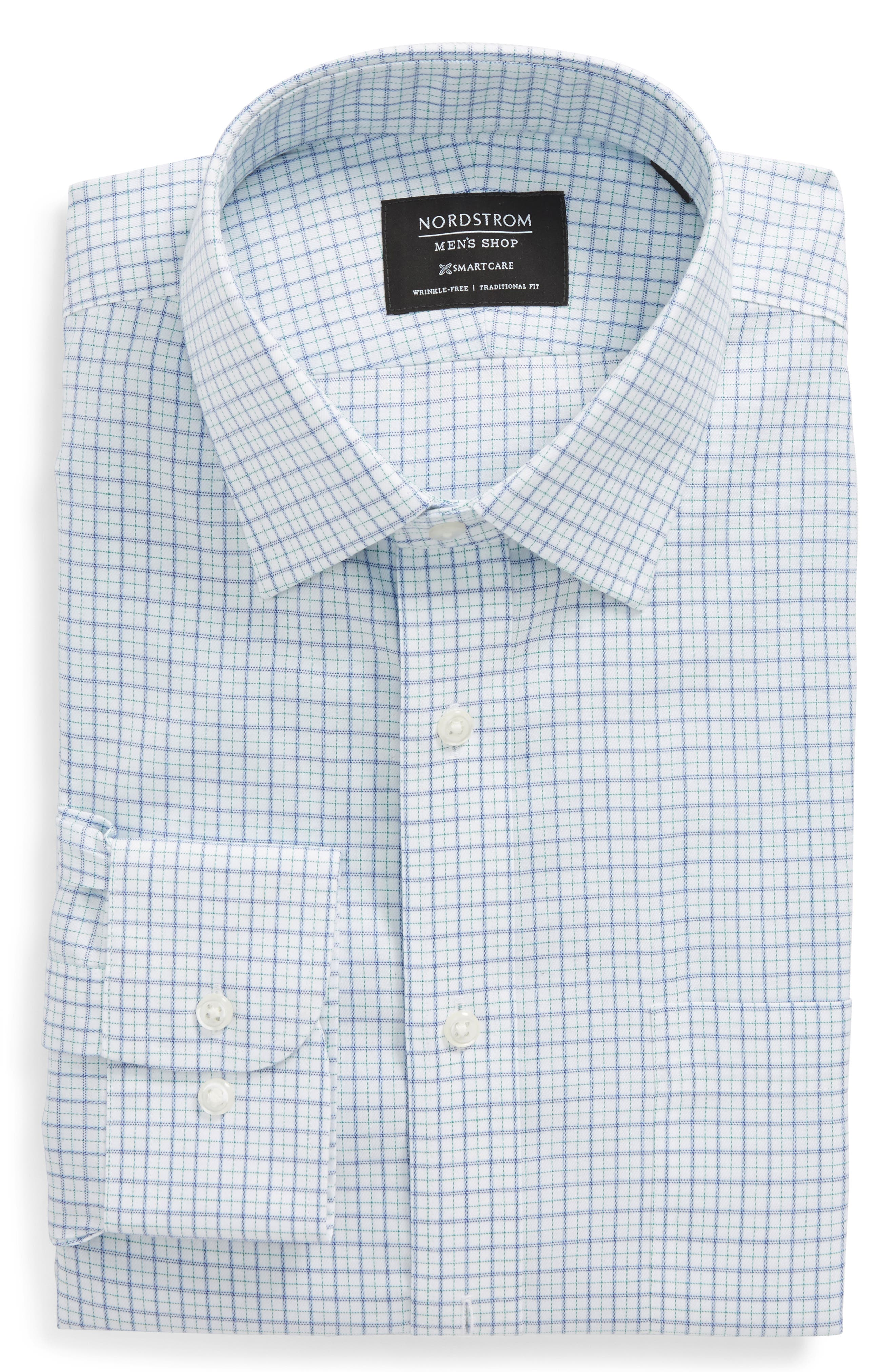 Smartcare<sup>™</sup> Traditional Fit Check Dress Shirt,                         Main,                         color, Green Pepper