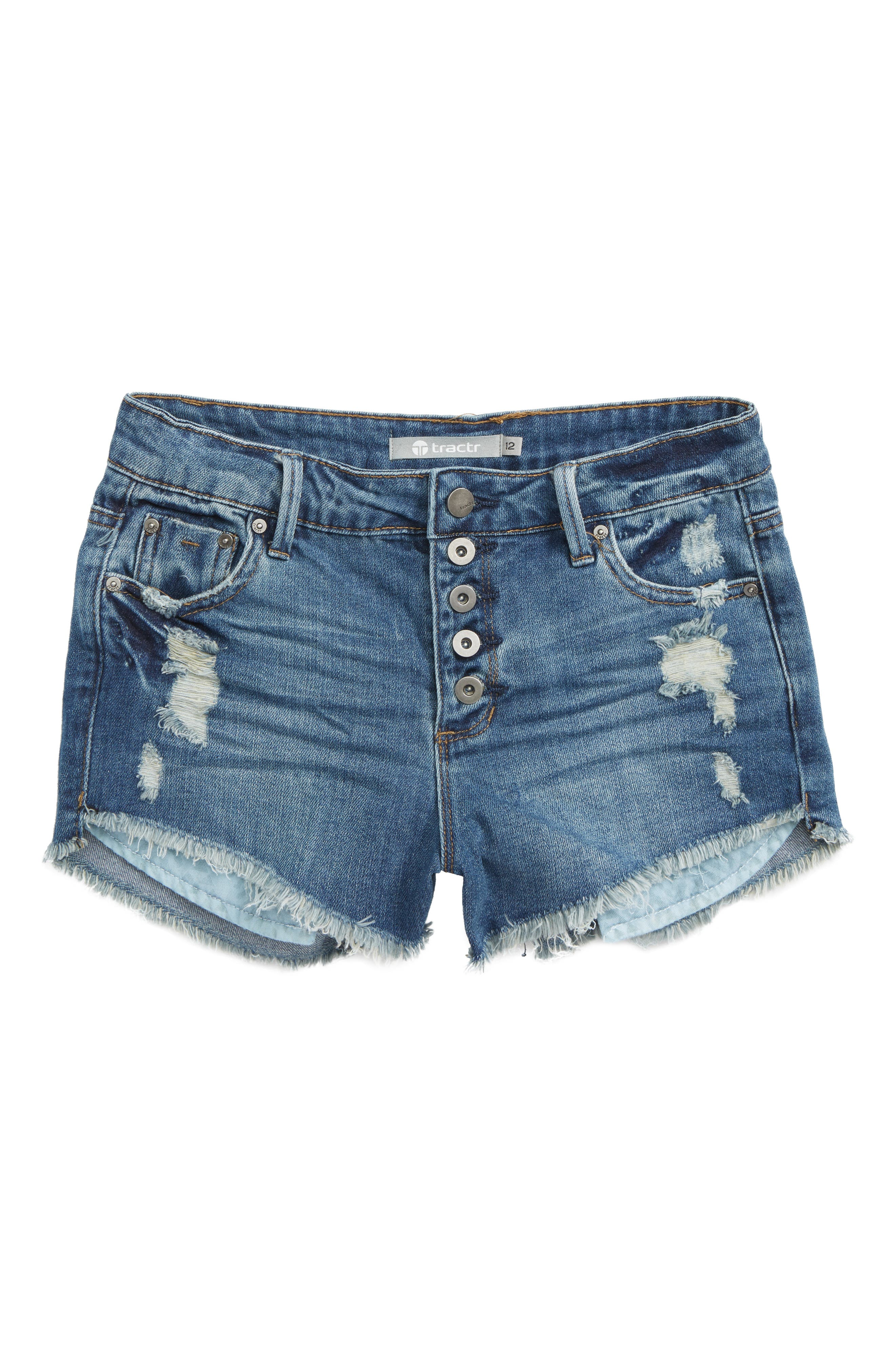 Fray Denim Shorts,                         Main,                         color, Indigo