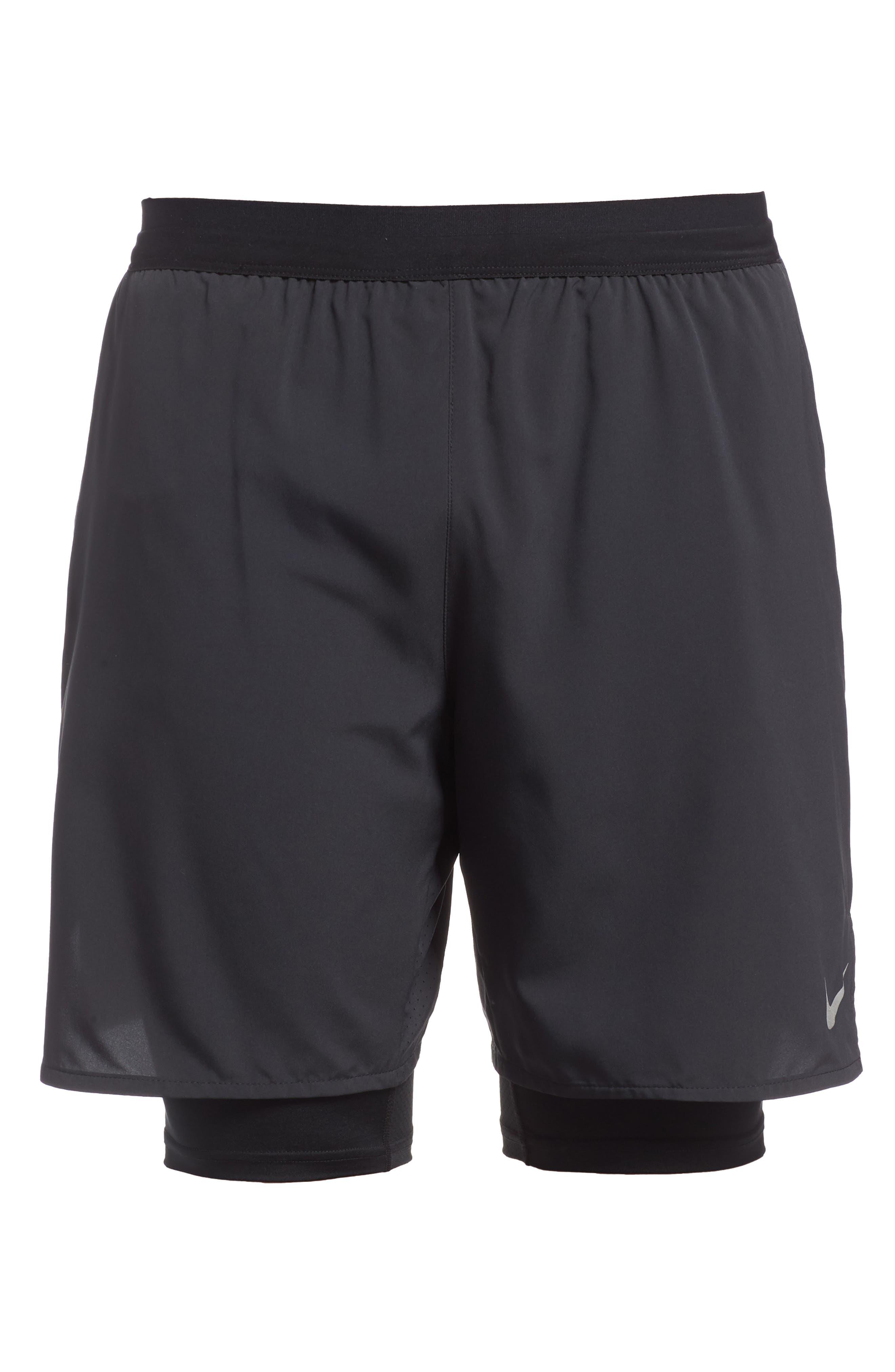 Flex Distance Running Shorts,                             Alternate thumbnail 6, color,                             Black/ Black