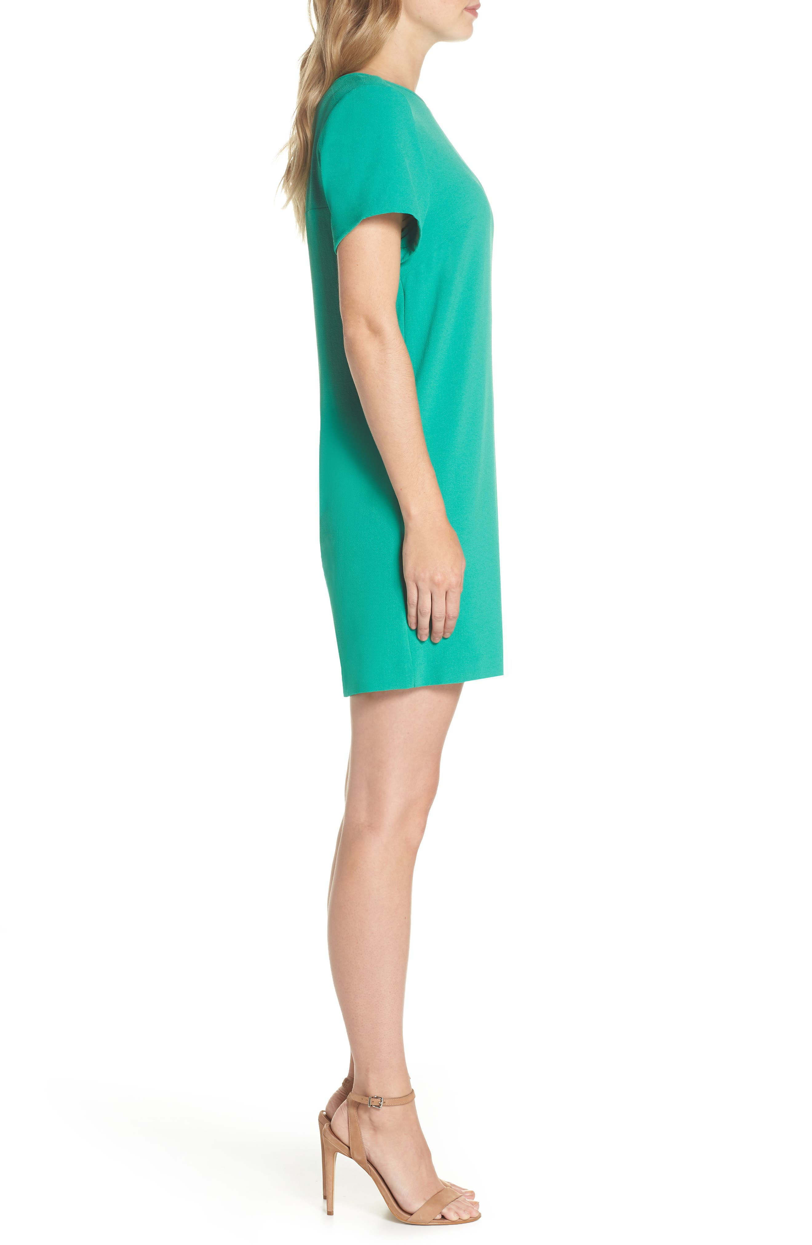 Devery Crepe Shift Dress,                             Alternate thumbnail 3, color,                             Emerald Green