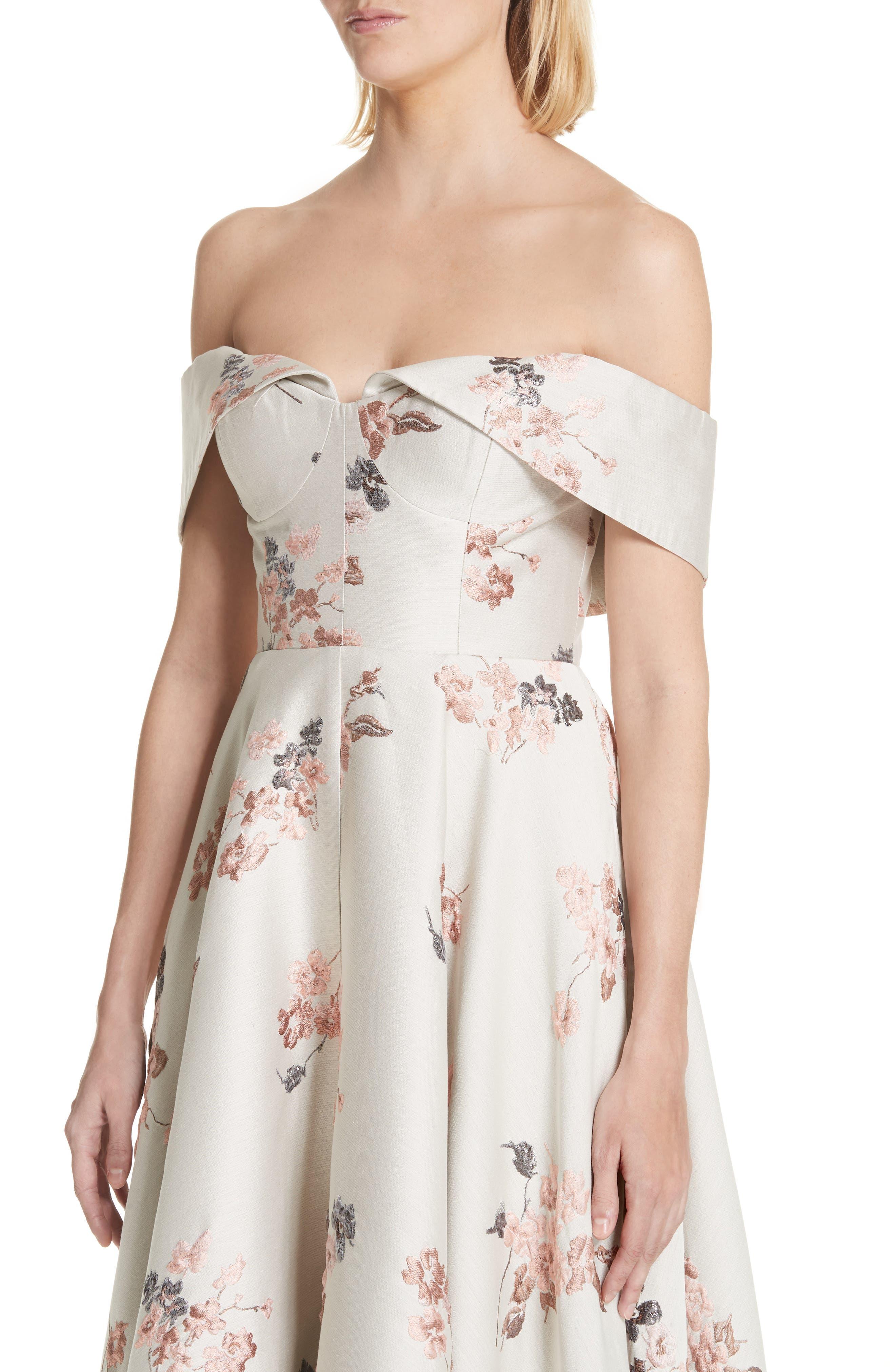 Metallic Floral Jacquard Off the Shoulder Dress,                             Alternate thumbnail 6, color,                             Beige/ Pink