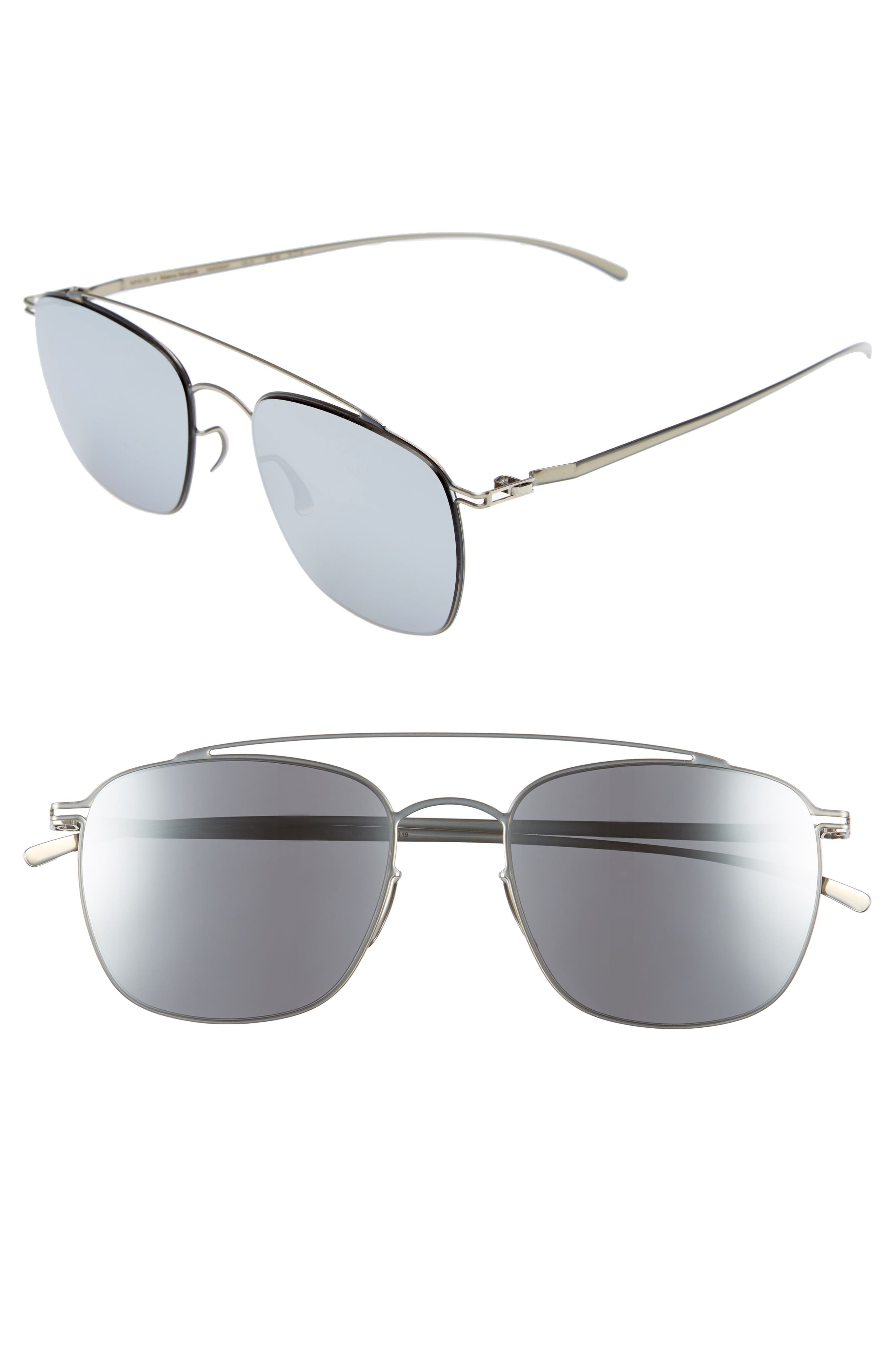 MMESSE007 51mm Aviator Sunglasses,                             Main thumbnail 1, color,                             Silver