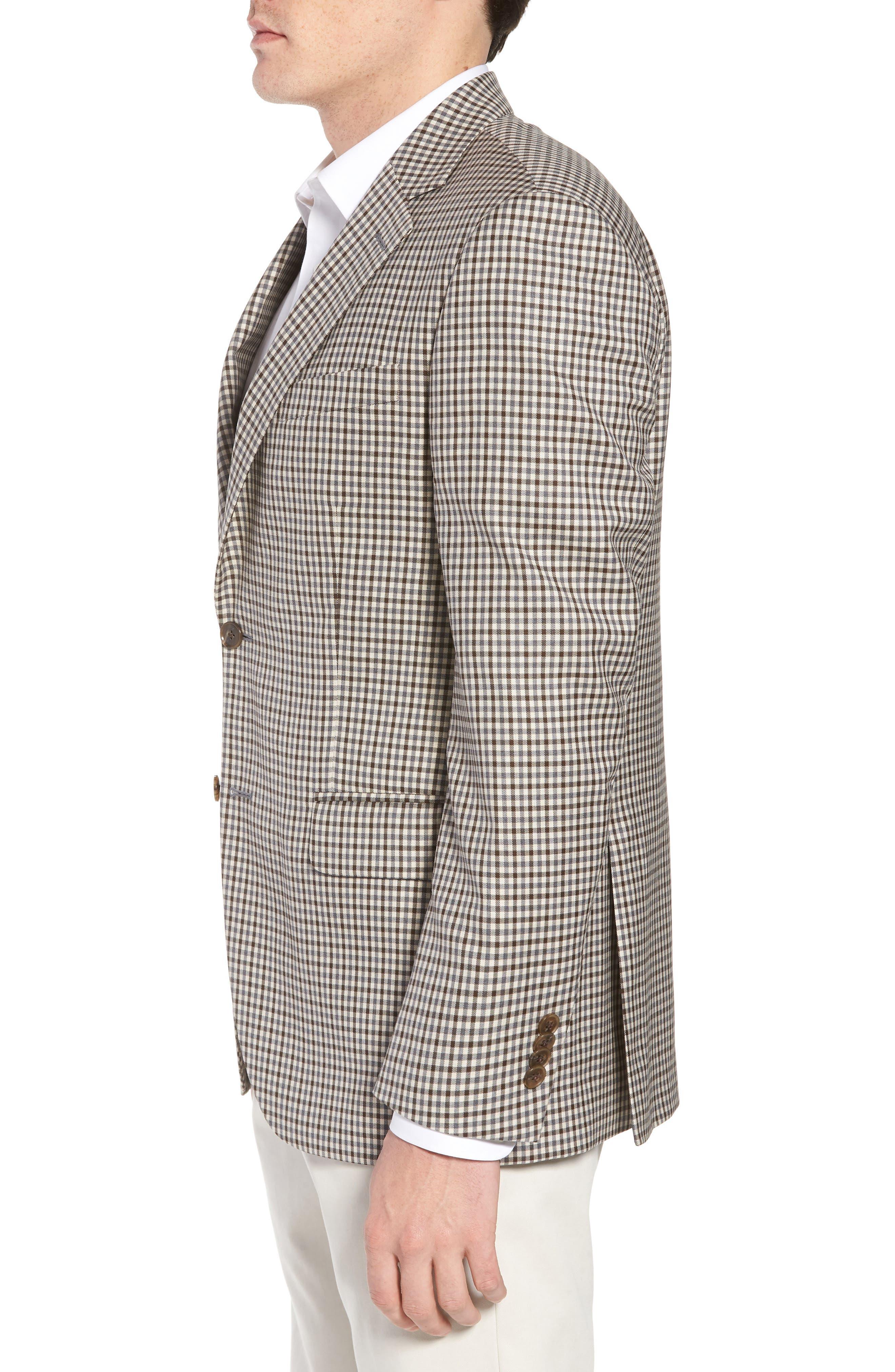 Classic Fit Check Wool Sport Coat,                             Alternate thumbnail 3, color,                             Tan/Grey