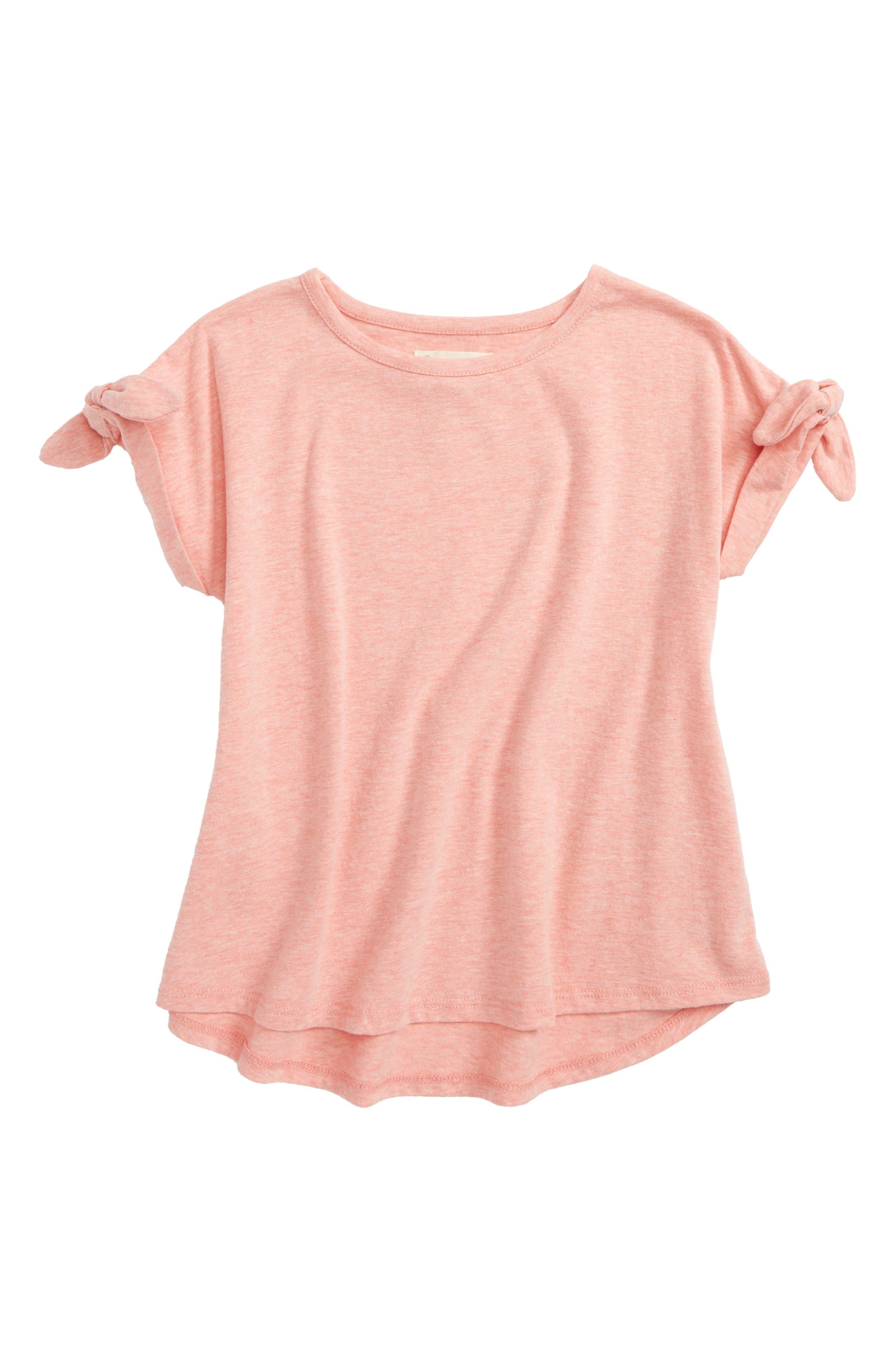 Tie Sleeve Tee,                         Main,                         color, Pink Geranium Heather