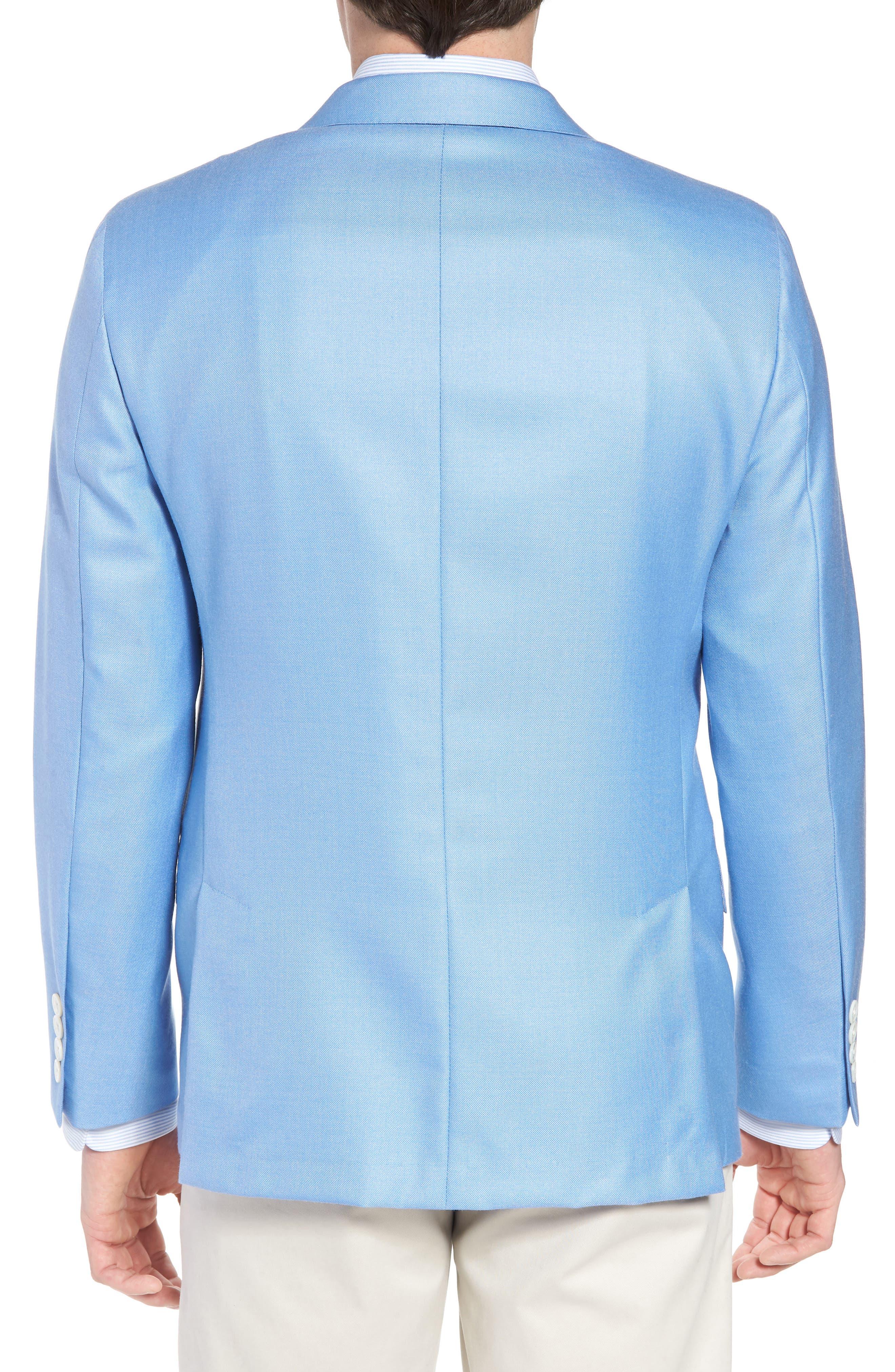 Classic B Fit Wool & Silk Blazer,                             Alternate thumbnail 2, color,                             Light Blue Solid