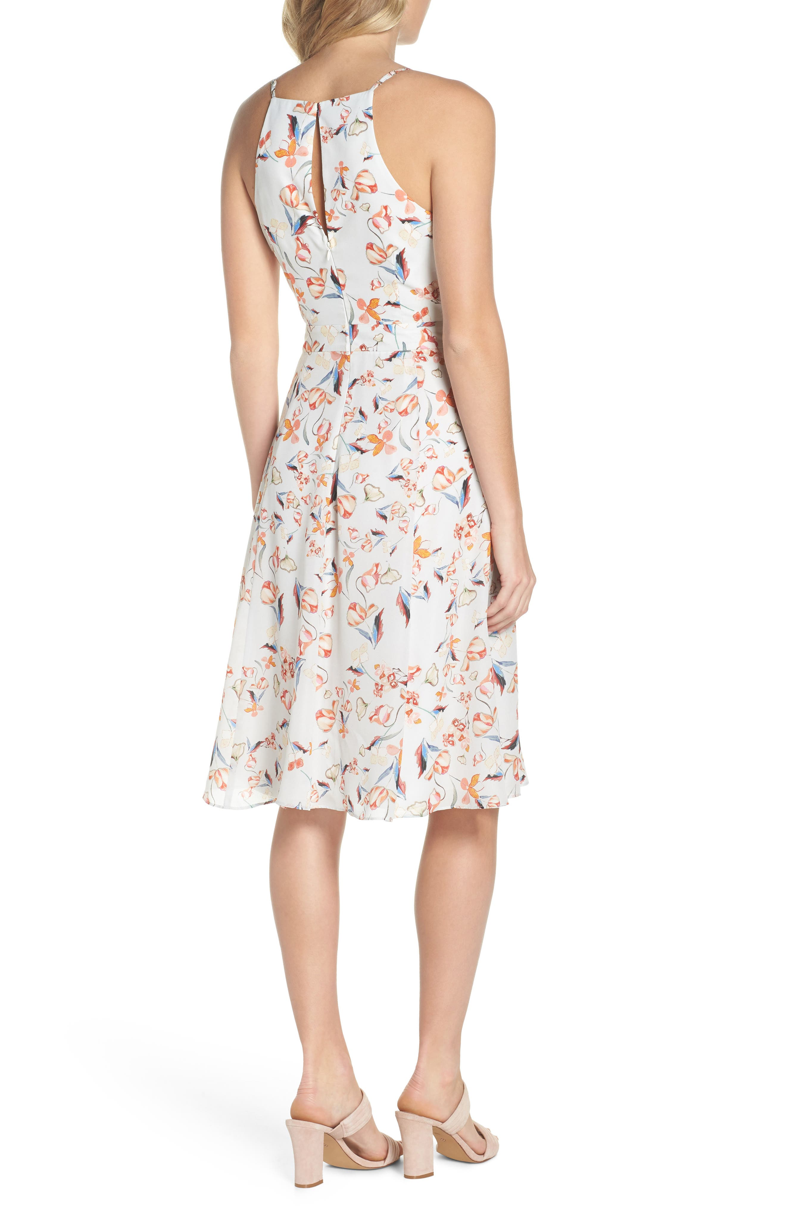 Tiffany Floral Fit & Flare Dress,                             Alternate thumbnail 2, color,                             Crystal Blue Multi
