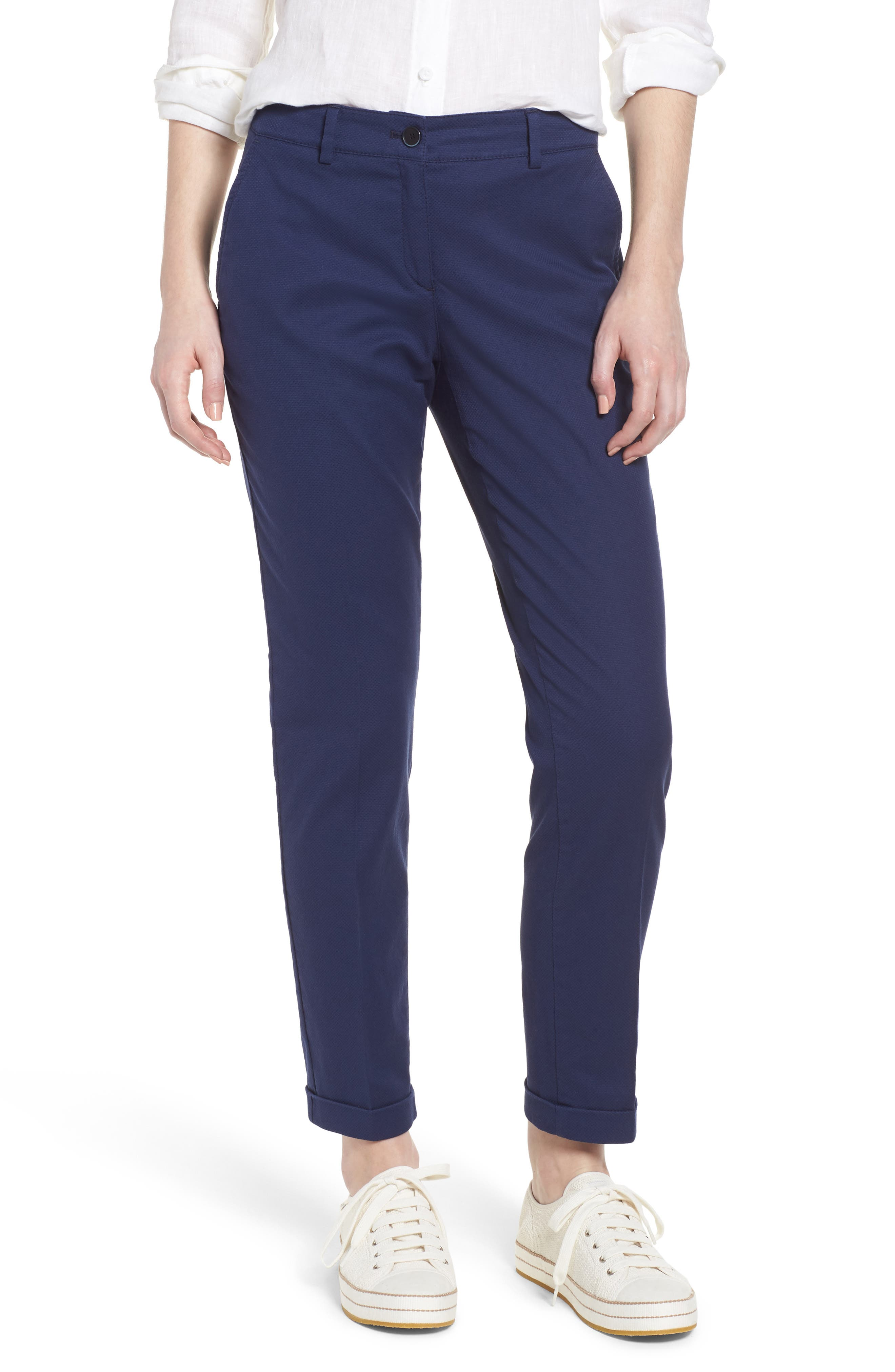 Maron Cuffed Straight Leg Pants,                         Main,                         color, Navy