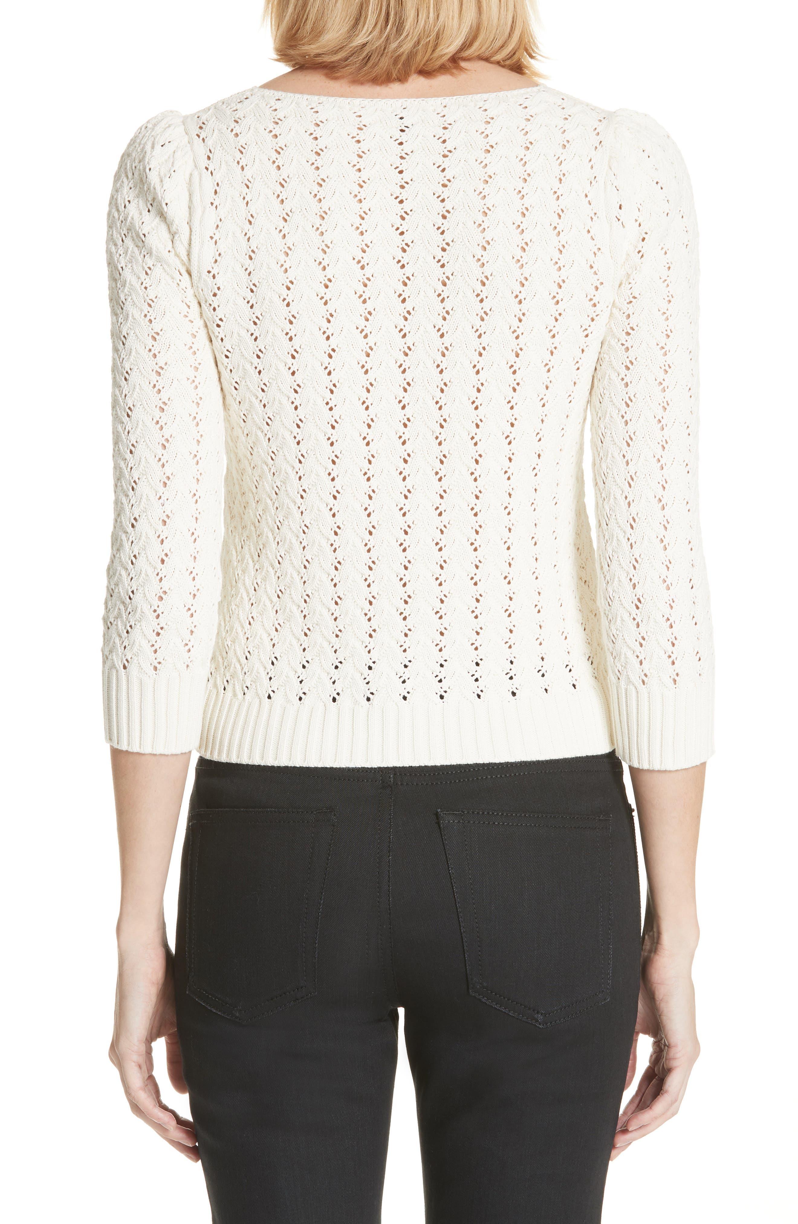 Lace Yoke Knit Sweater,                             Alternate thumbnail 2, color,                             Naturel