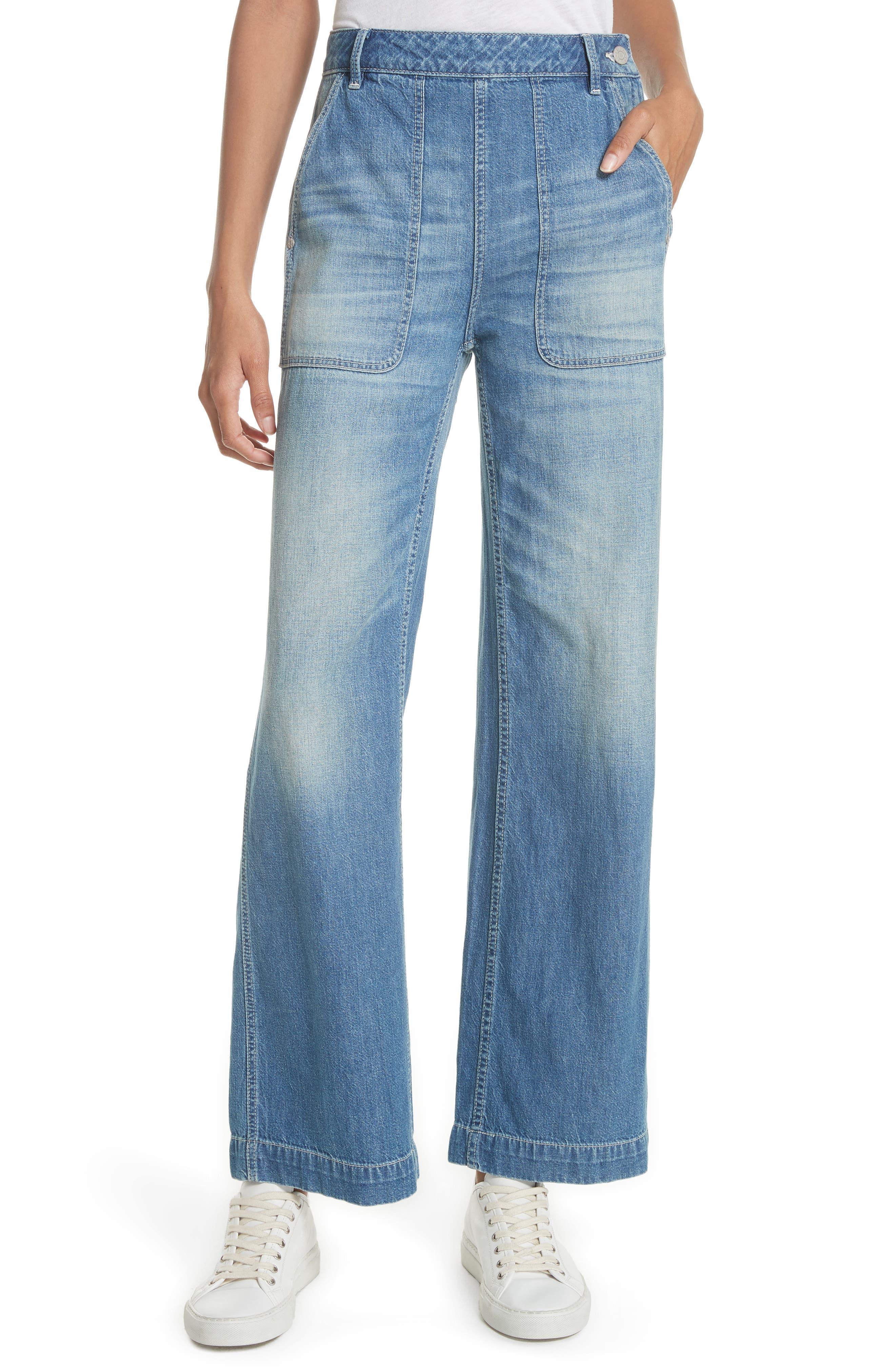 Main Image - La Vie Rebecca Taylor Drapey Denim Wide Leg Pants (Riviera)