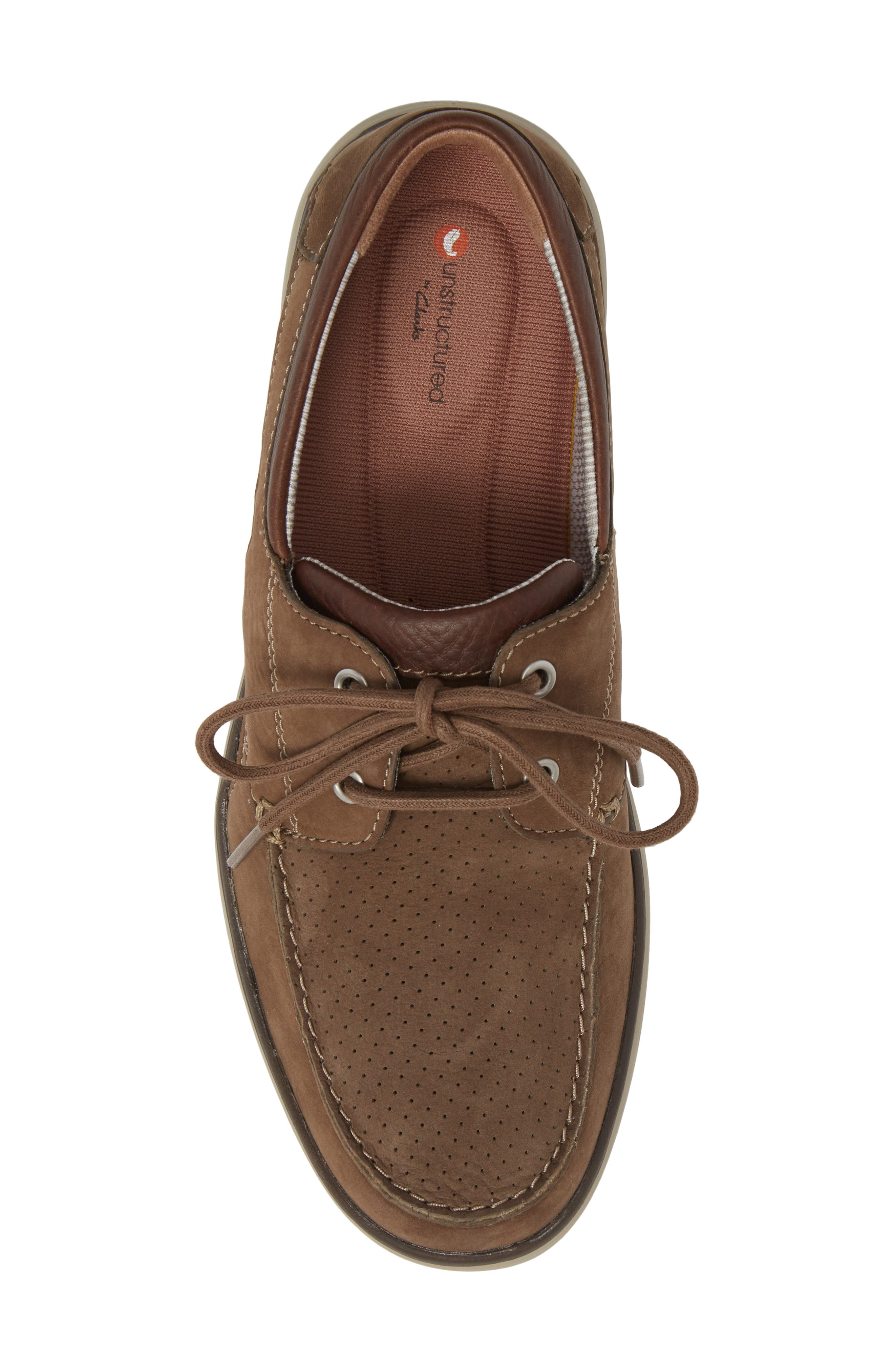 Clarks<sup>®</sup> Unabobe Step Boat Shoe,                             Alternate thumbnail 5, color,                             Olive Nubuck
