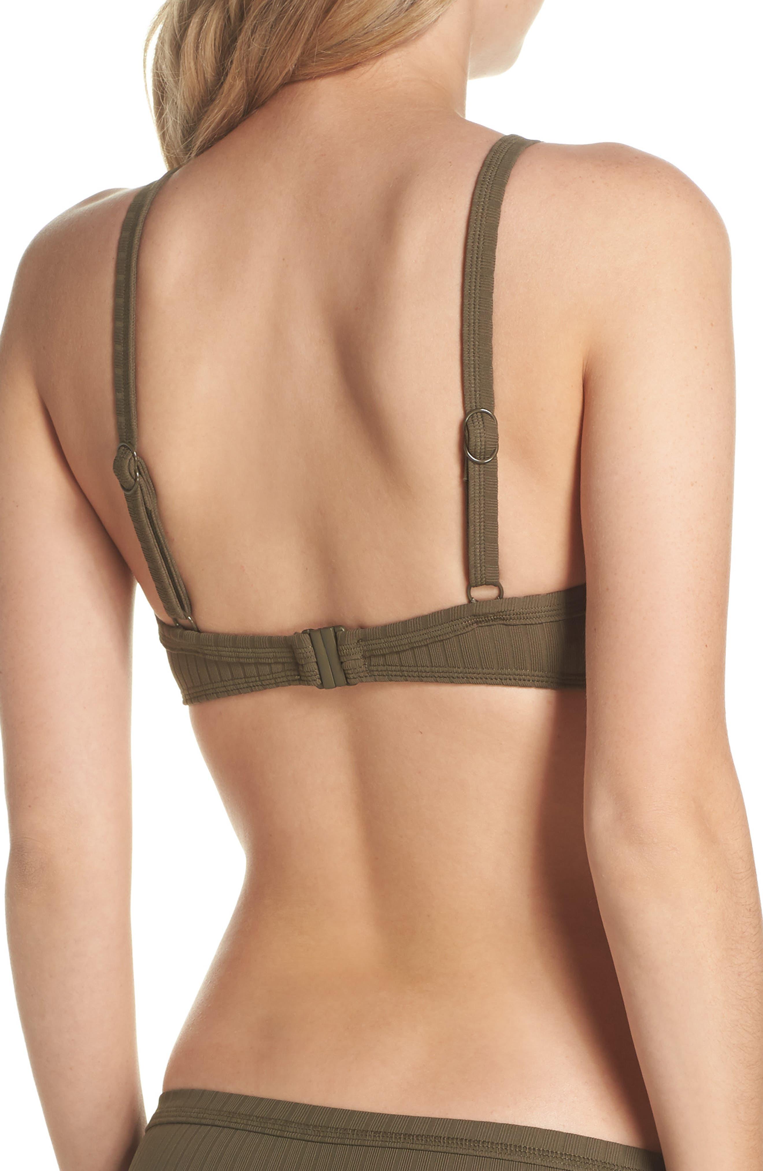 Inka Ribbed Lace-Up Bikini Top,                             Alternate thumbnail 2, color,                             Dark Olive