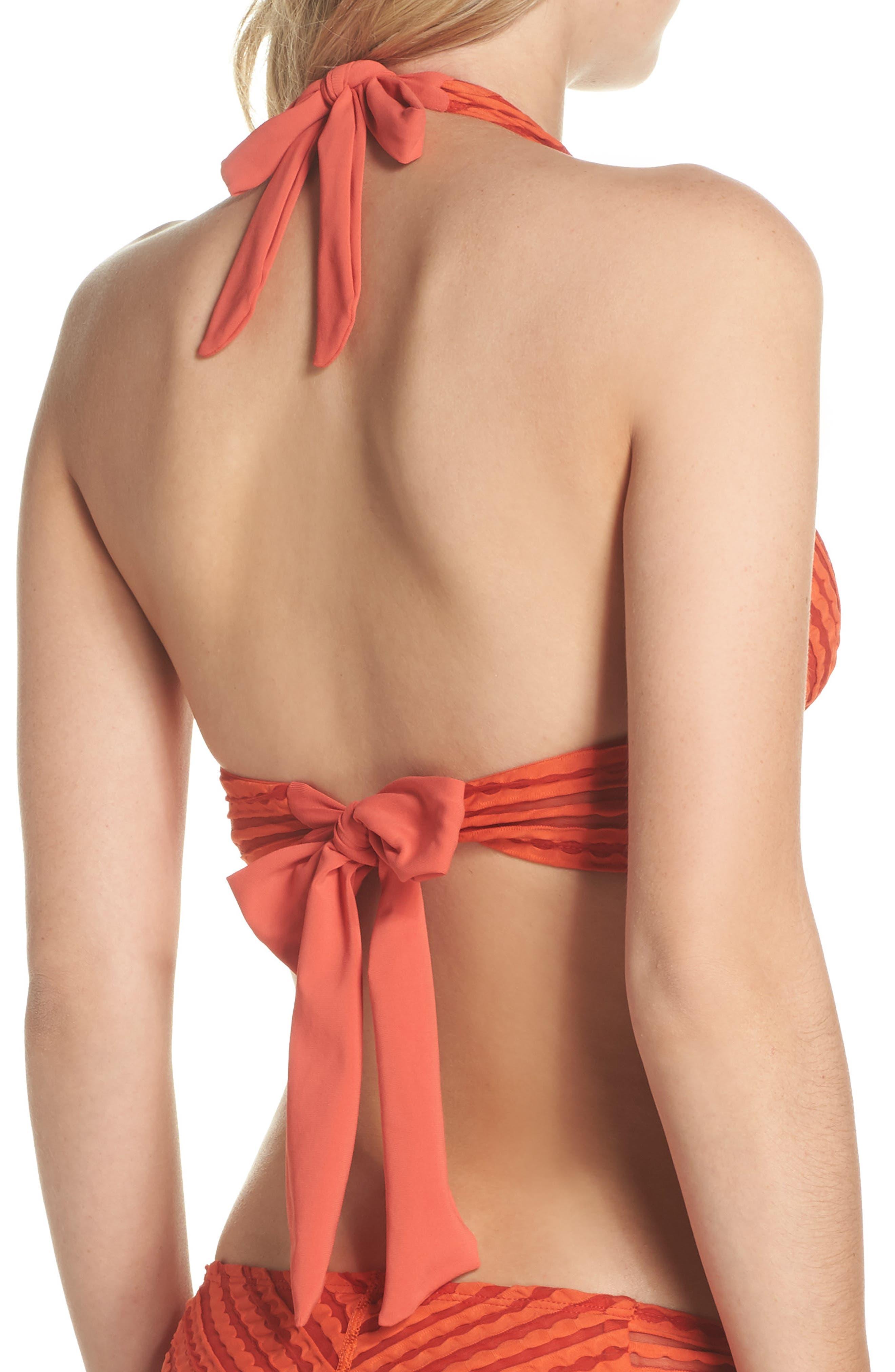 Carly Keyhole Halter Bikini Top,                             Alternate thumbnail 3, color,                             Pimento