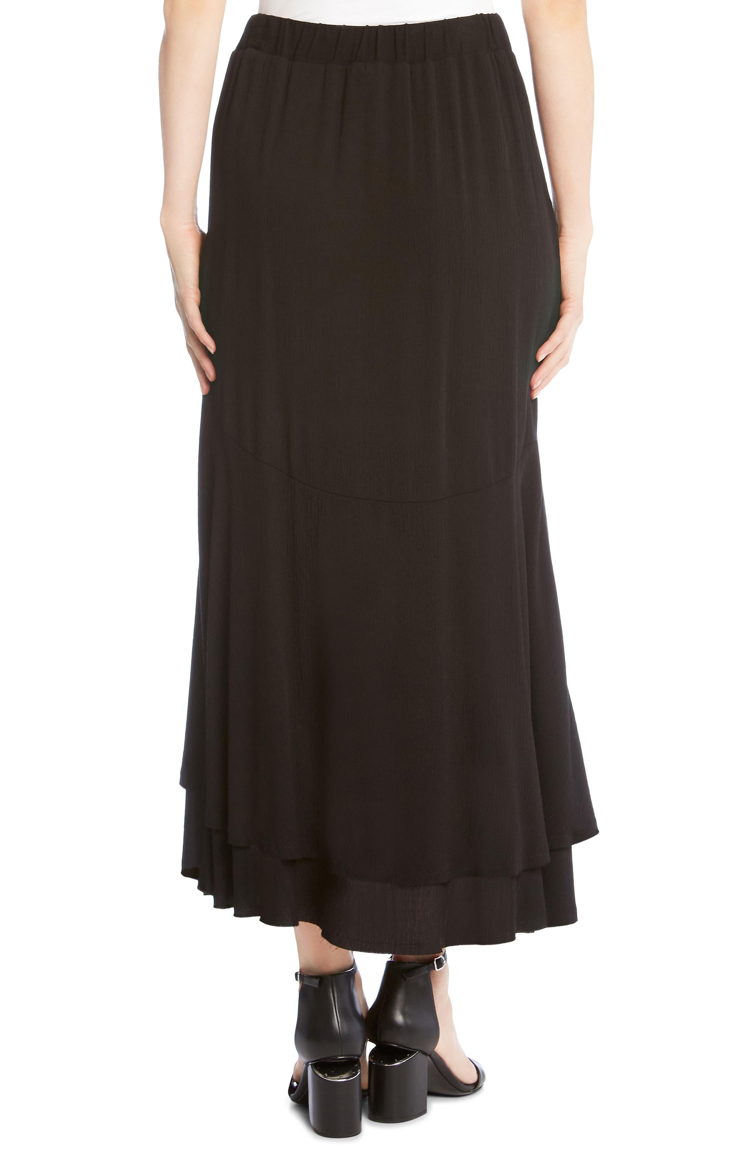 Asymmetrical Raw Edge Ruffle Skirt,                             Alternate thumbnail 2, color,                             Black