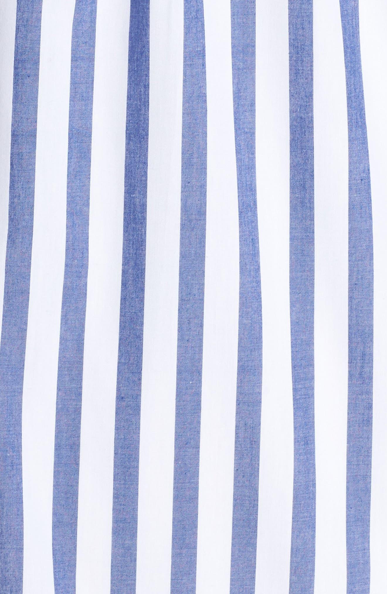Stripe Bib Front Sleeveless Shift Dress,                             Alternate thumbnail 6, color,                             Ivory/ Blue Stripe