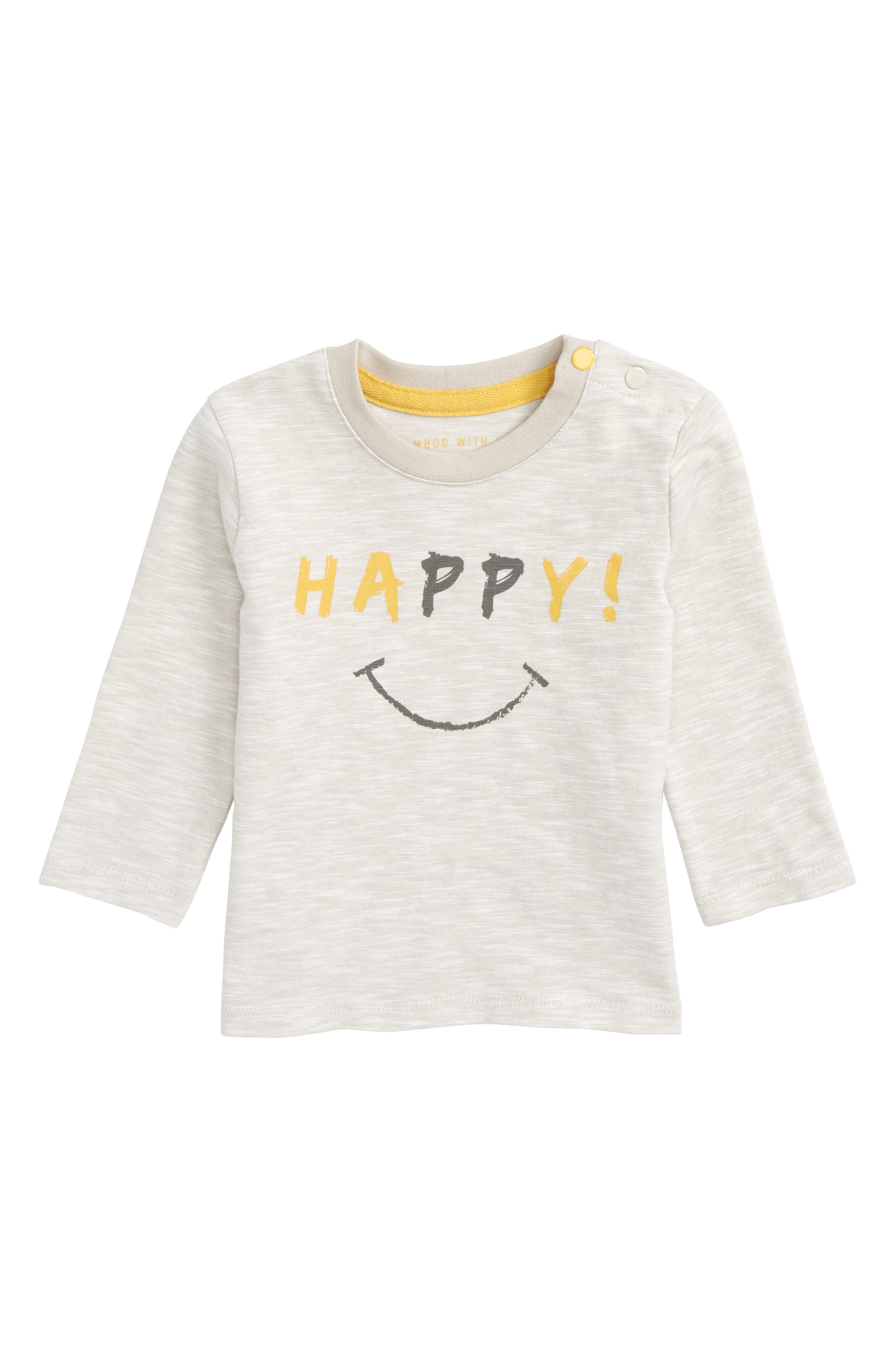 Happy Graphic T-Shirt,                             Main thumbnail 1, color,                             Grey