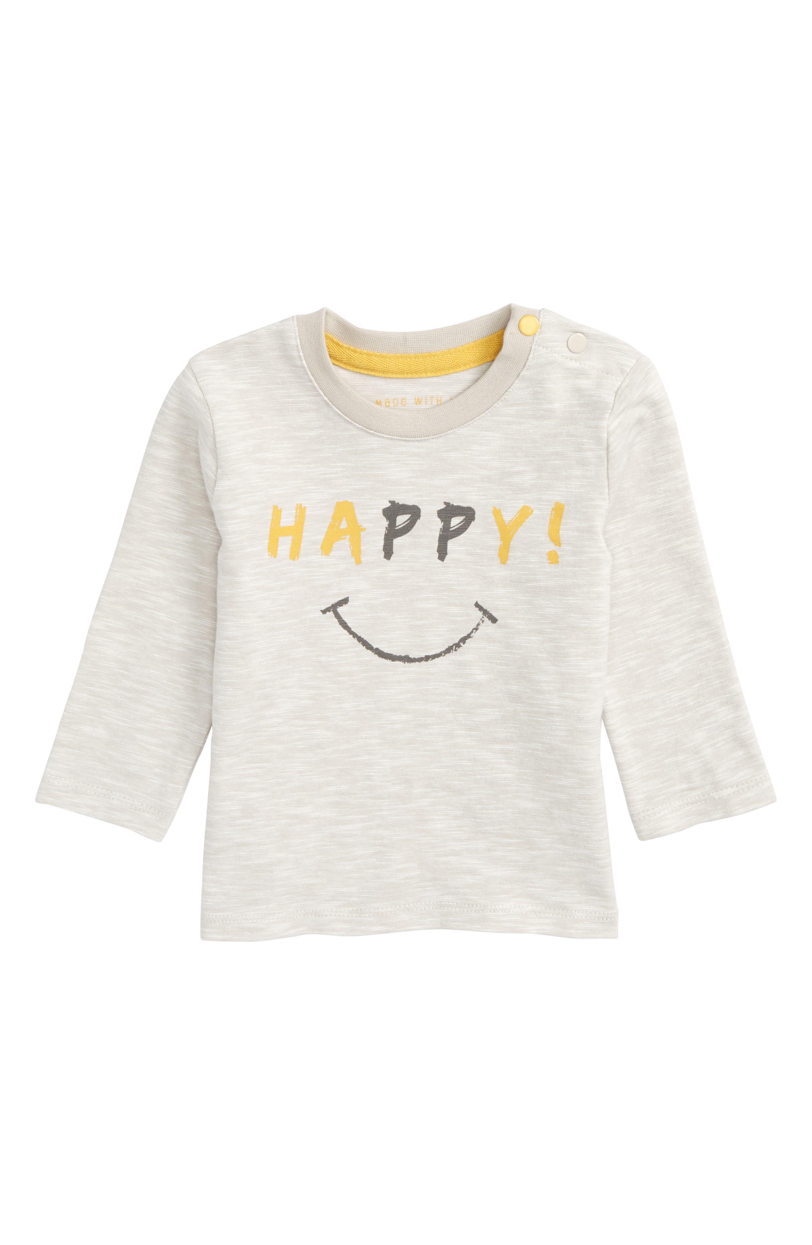 Happy Graphic T-Shirt,                         Main,                         color, Grey