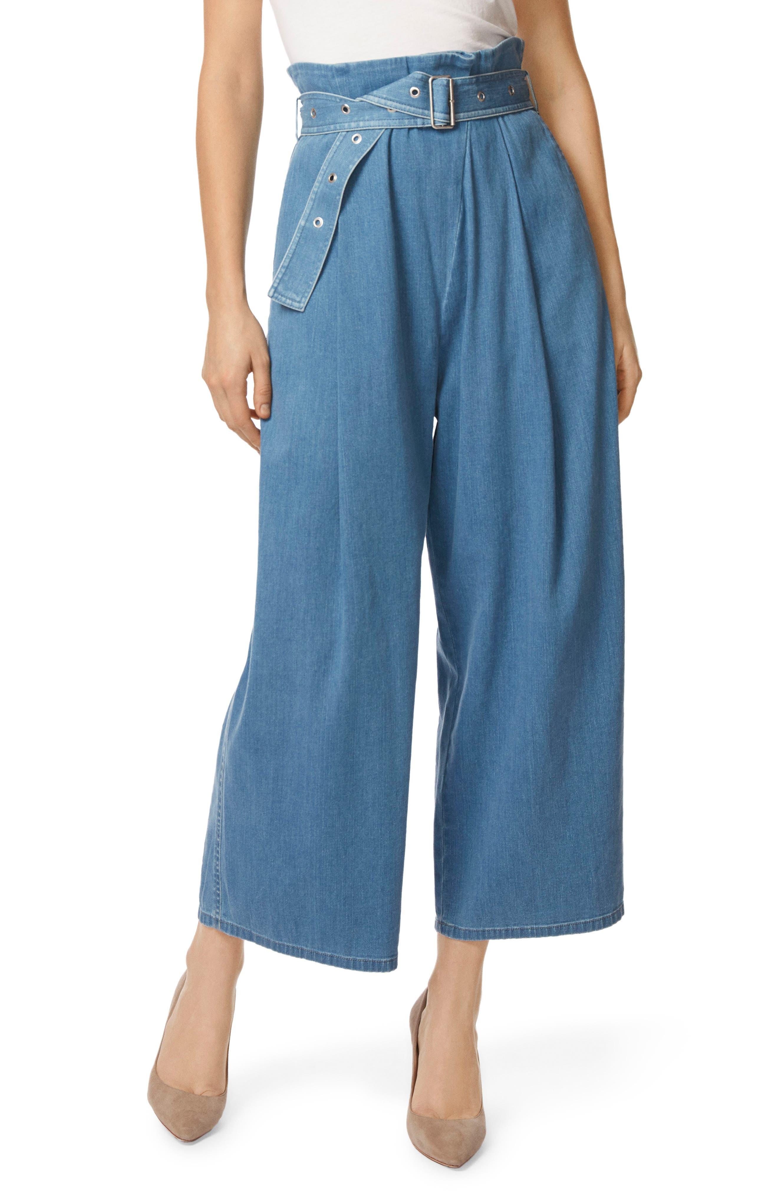 Via Pleat Front Wide Leg Pants,                         Main,                         color, Heavenly