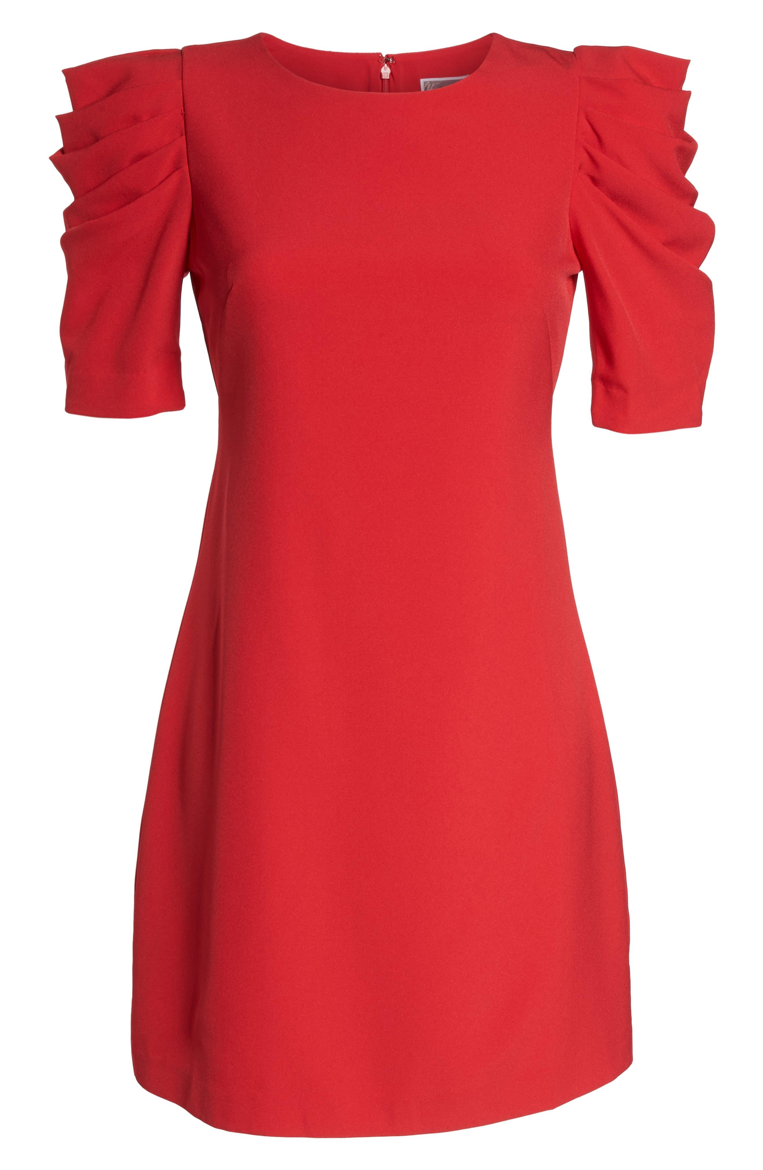Puff Sleeve Shift Dress,                             Alternate thumbnail 7, color,                             Red Festive
