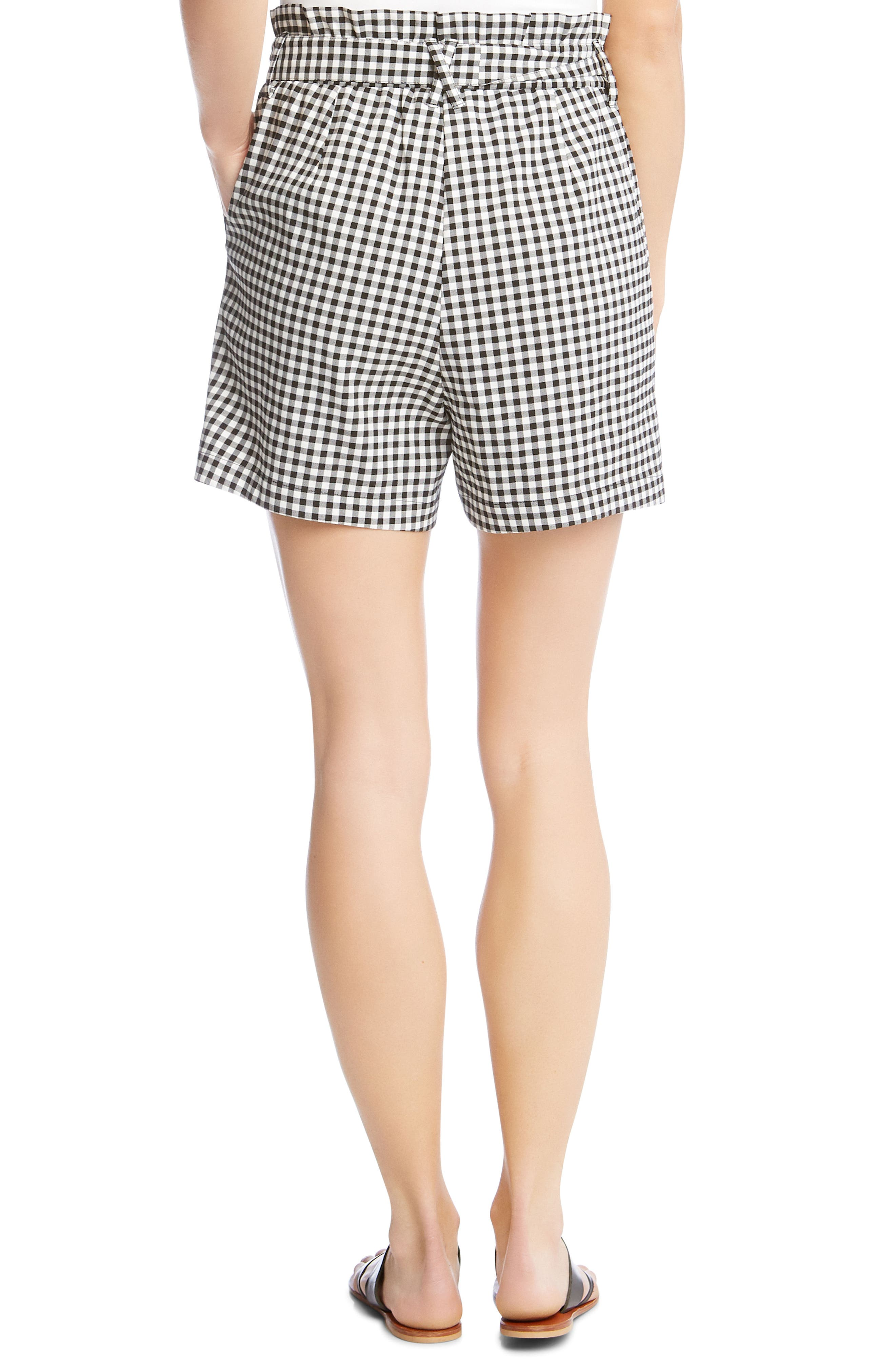 Paperbag Waist Gingham Shorts,                             Alternate thumbnail 2, color,                             Check