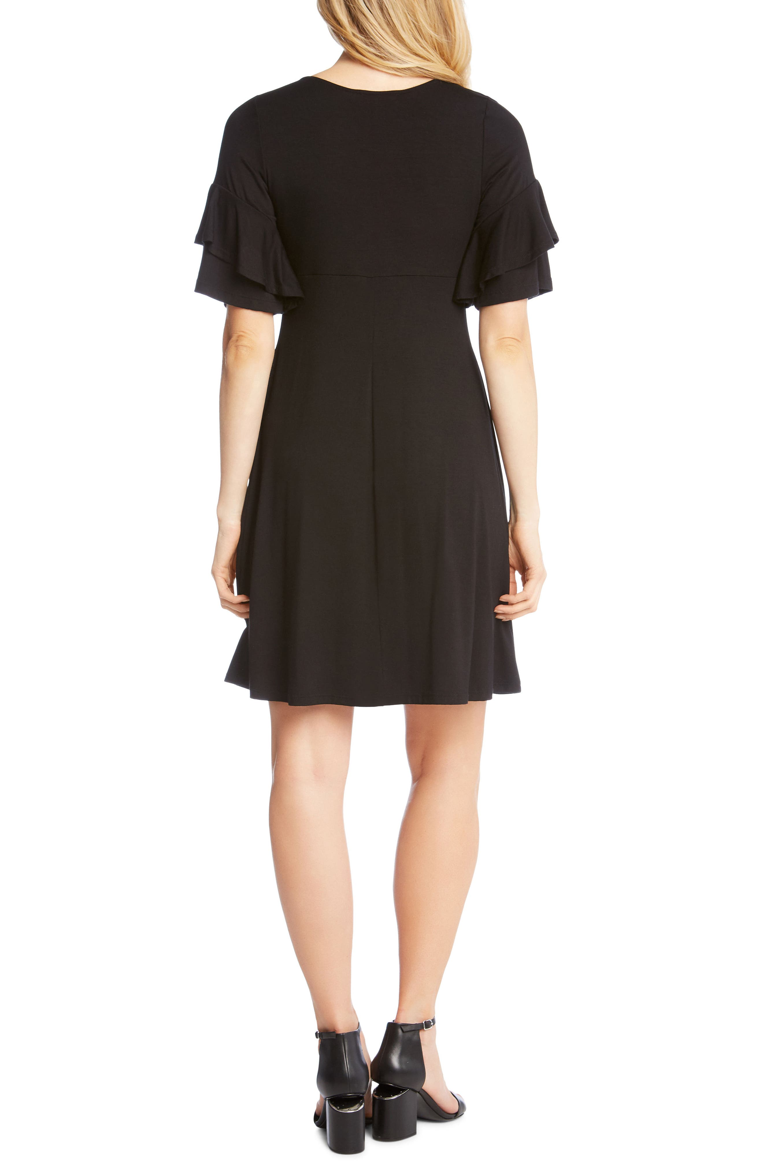 Ruffle Sleeve Jersey Knit Dress,                             Alternate thumbnail 2, color,                             Black