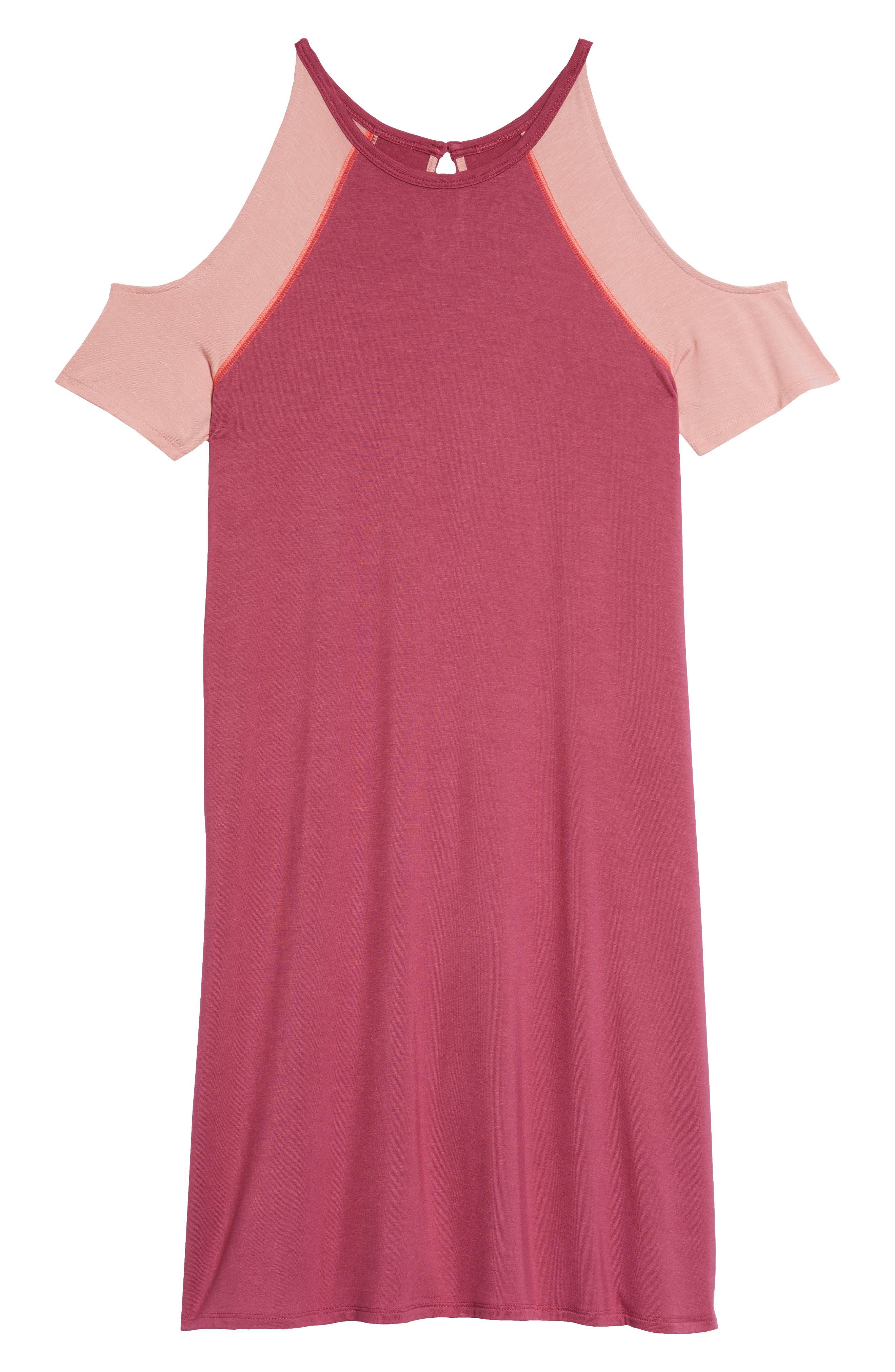 Cold Shoulder Dress,                             Main thumbnail 1, color,                             Magenta Pink