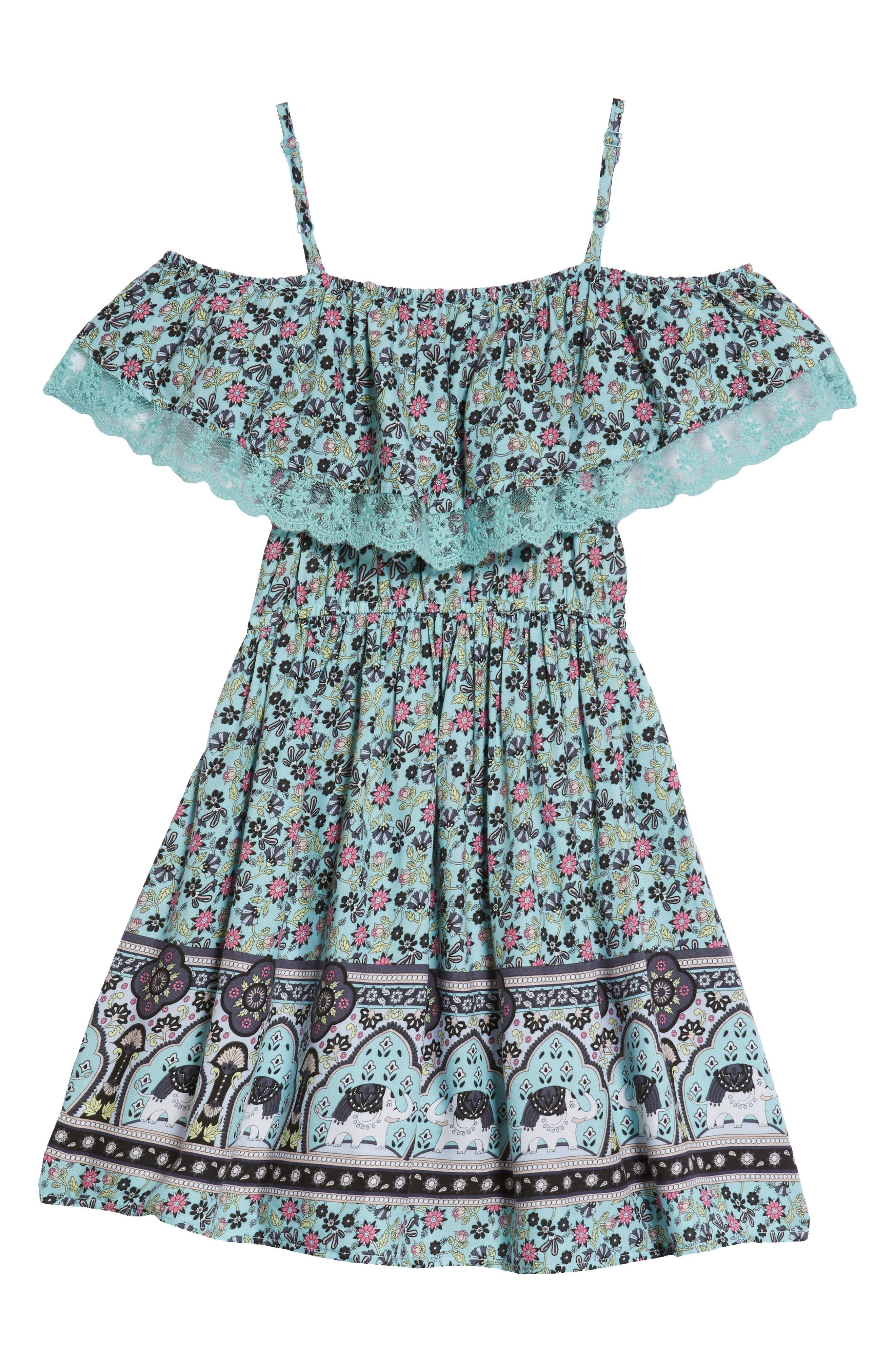 Cold Shoulder Fit & Flare Dress,                             Alternate thumbnail 2, color,                             Aqua Elephant