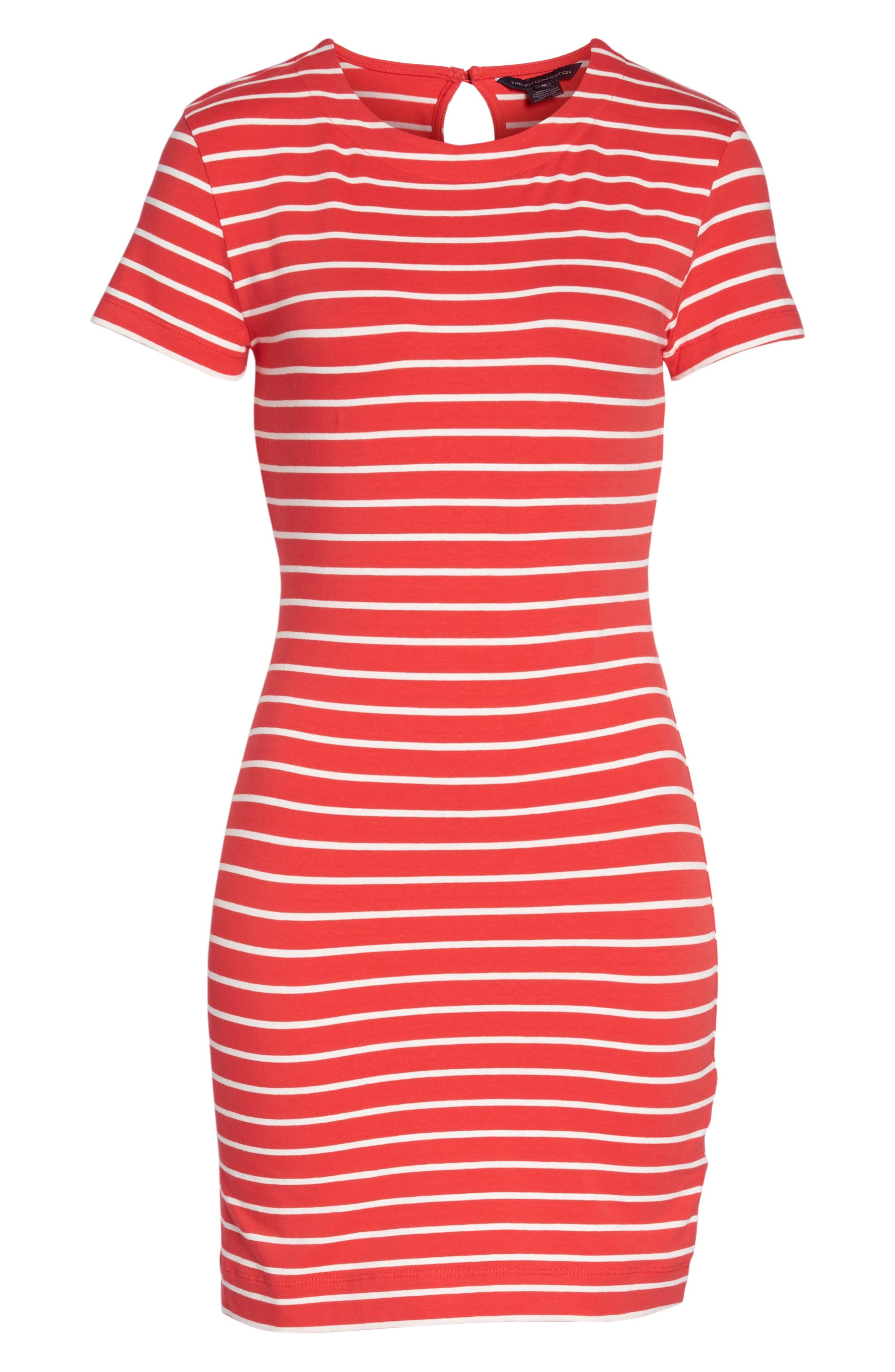 Knit Stripe Body-Con Dress,                             Alternate thumbnail 7, color,                             Shanghai Red/ Summer White