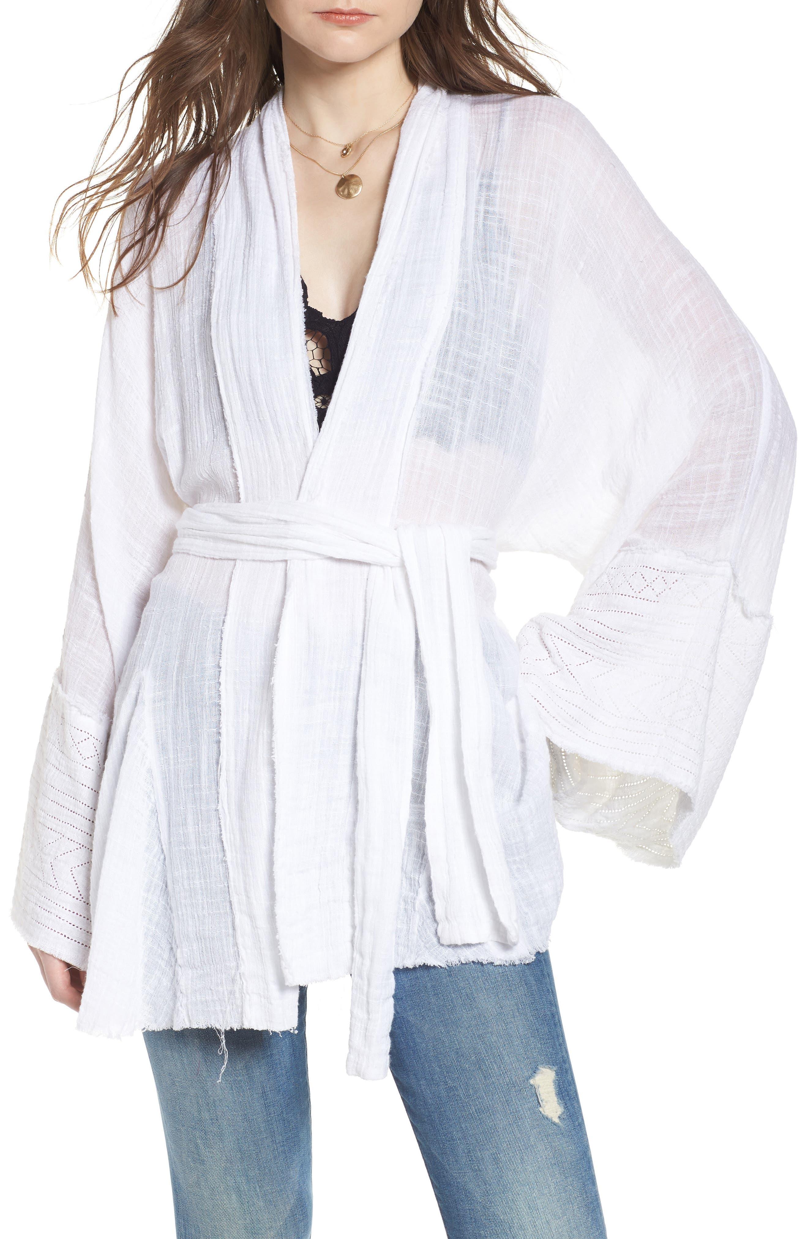 Tie Wrap Kimono,                             Main thumbnail 1, color,                             Ivory