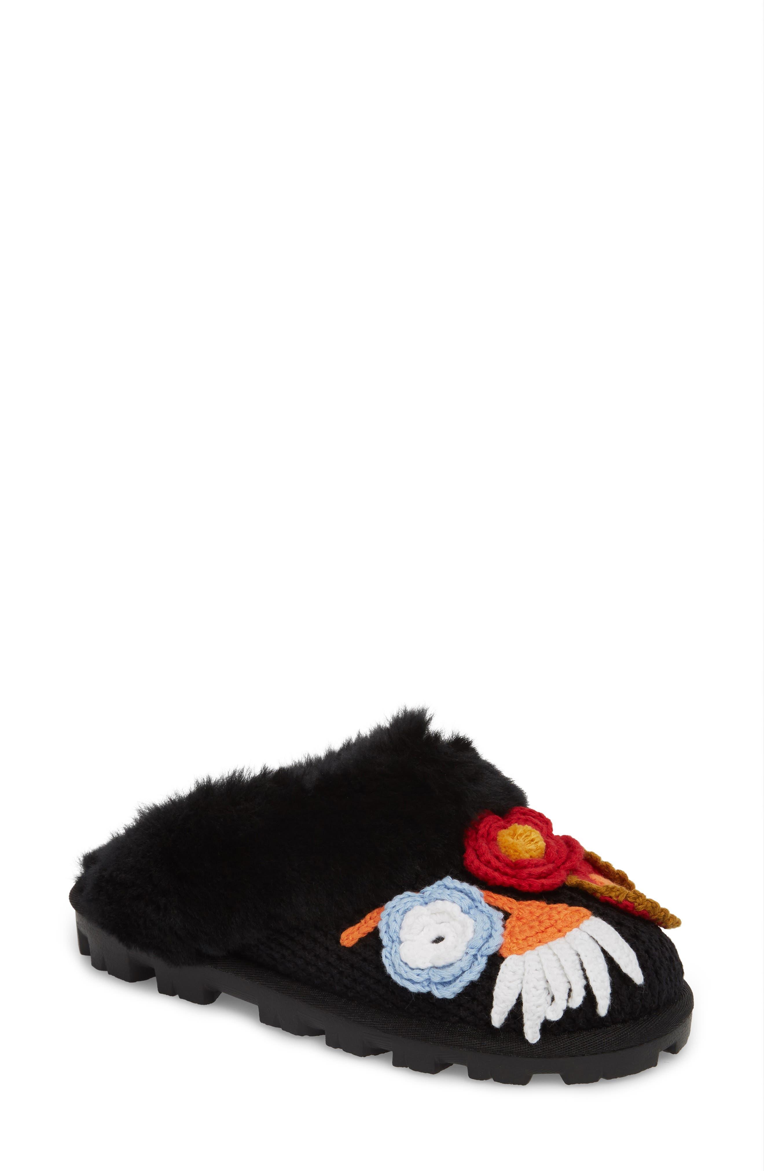 Crochet Genuine Shearling Slipper,                         Main,                         color, Black