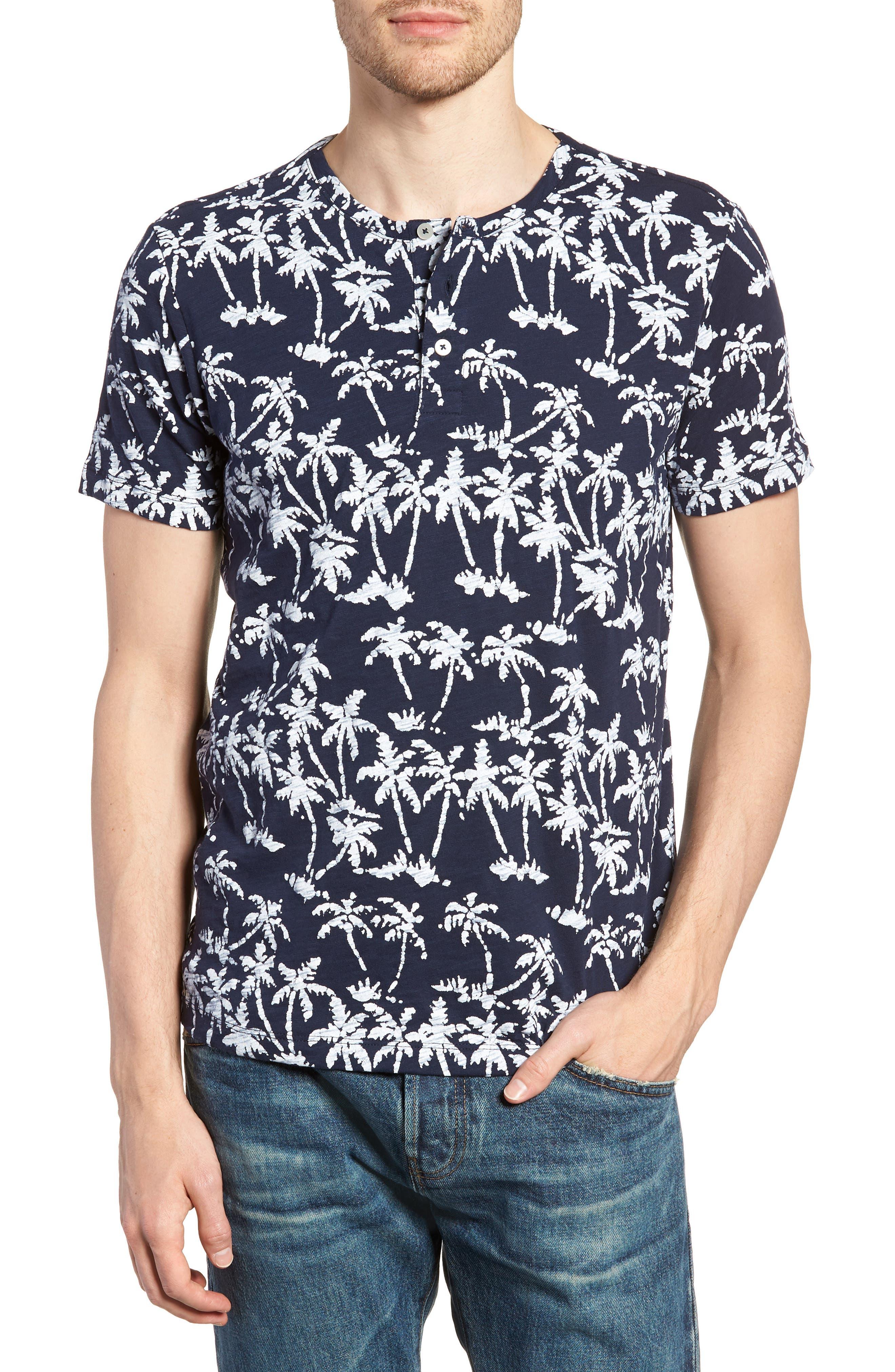 Print Henley T-Shirt,                         Main,                         color, Batik Palms