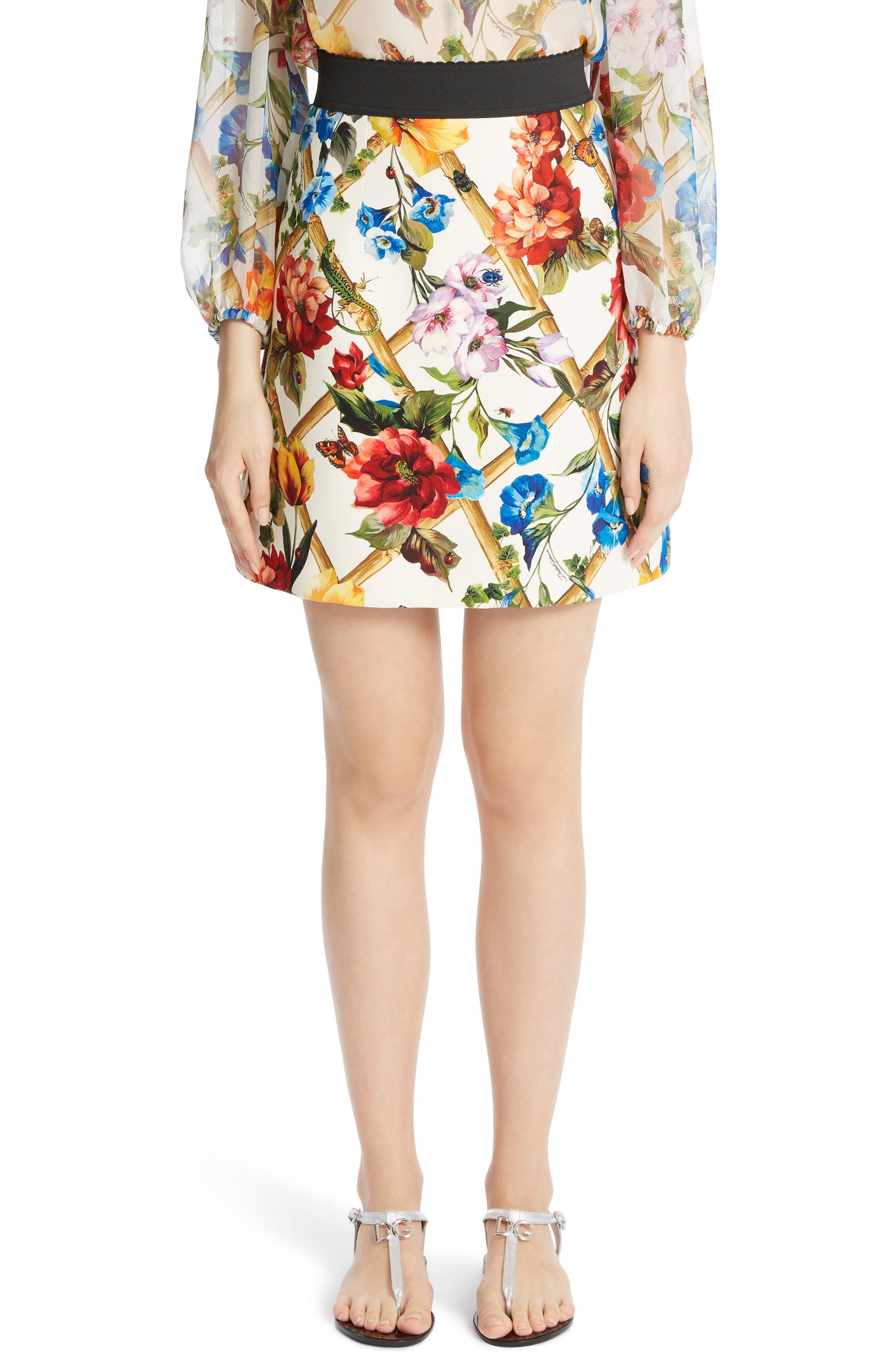 Dolce&Gabbana Bamboo Print Wool & Silk Skirt