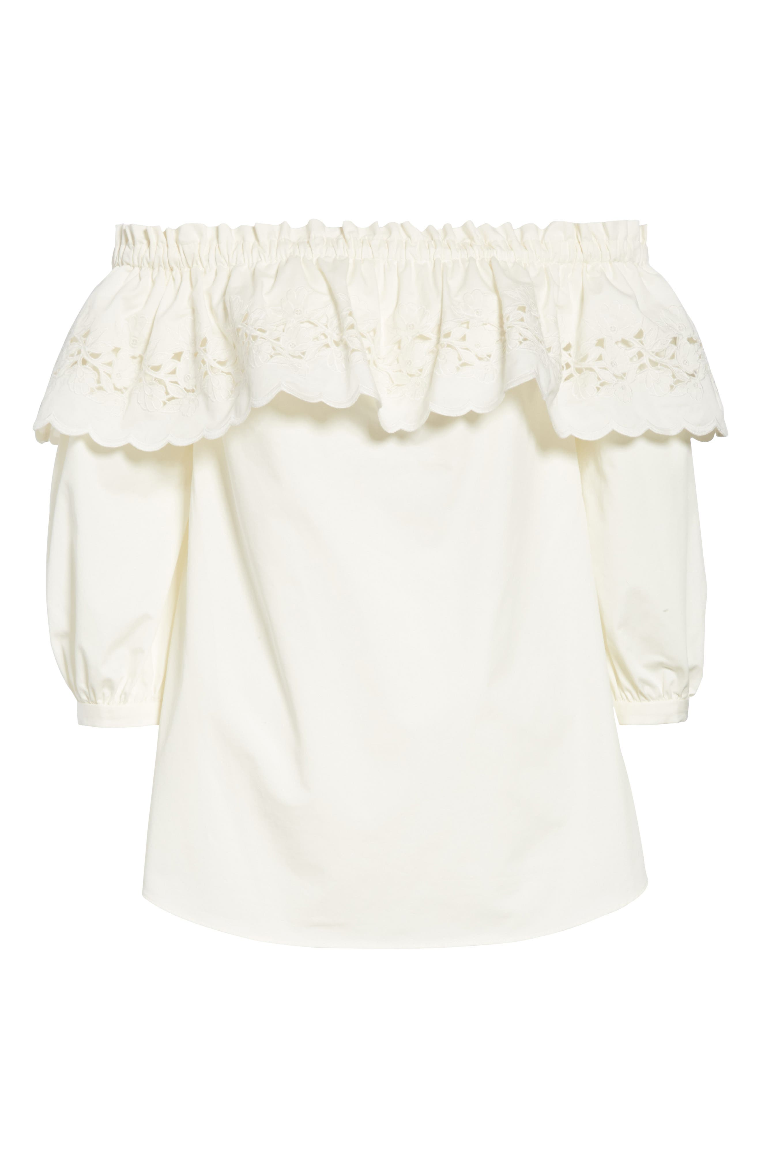 cutwork off the shoulder top,                             Alternate thumbnail 6, color,                             Fresh White