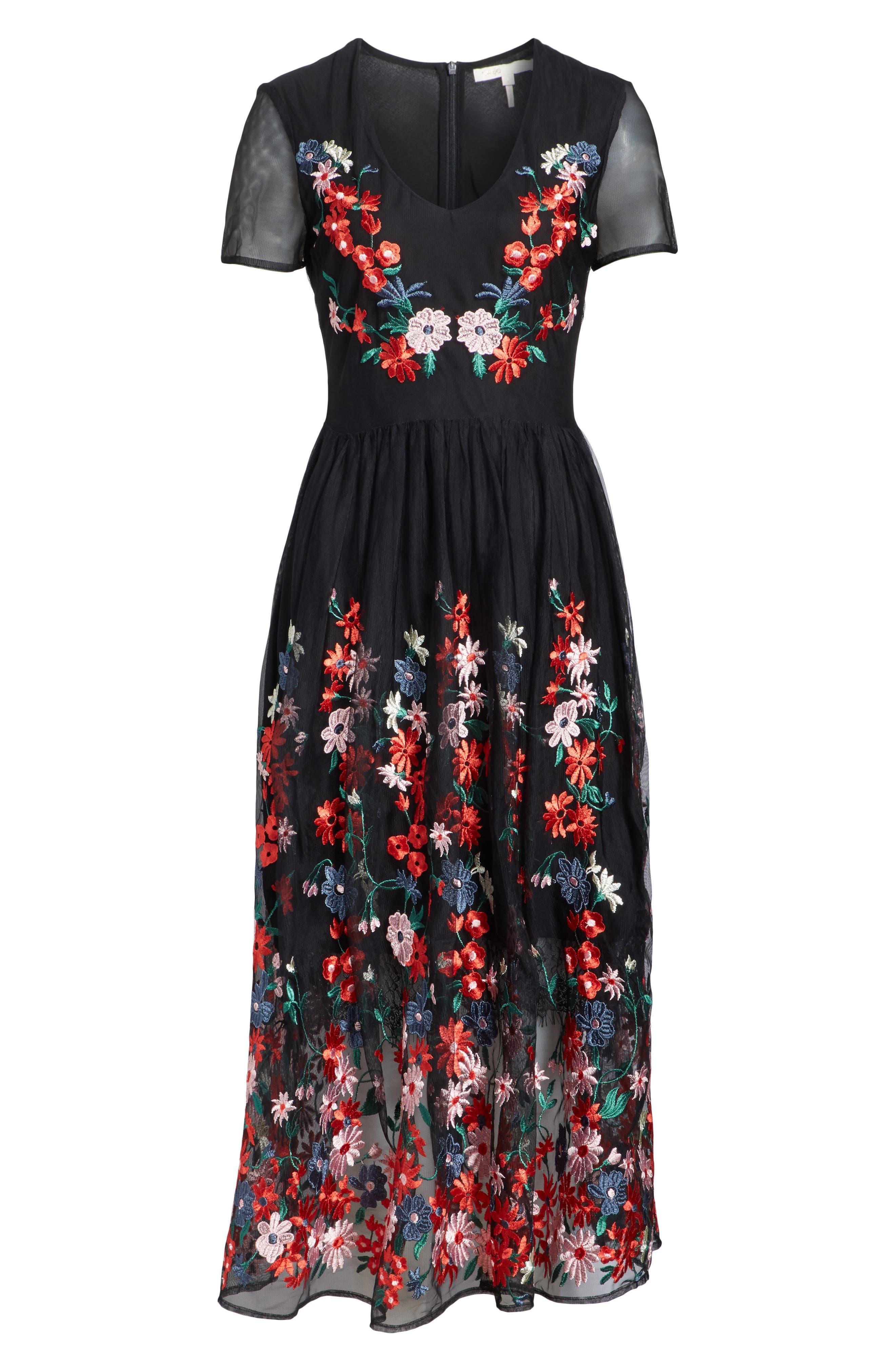 maje Raphael Embroidered Midi Dress