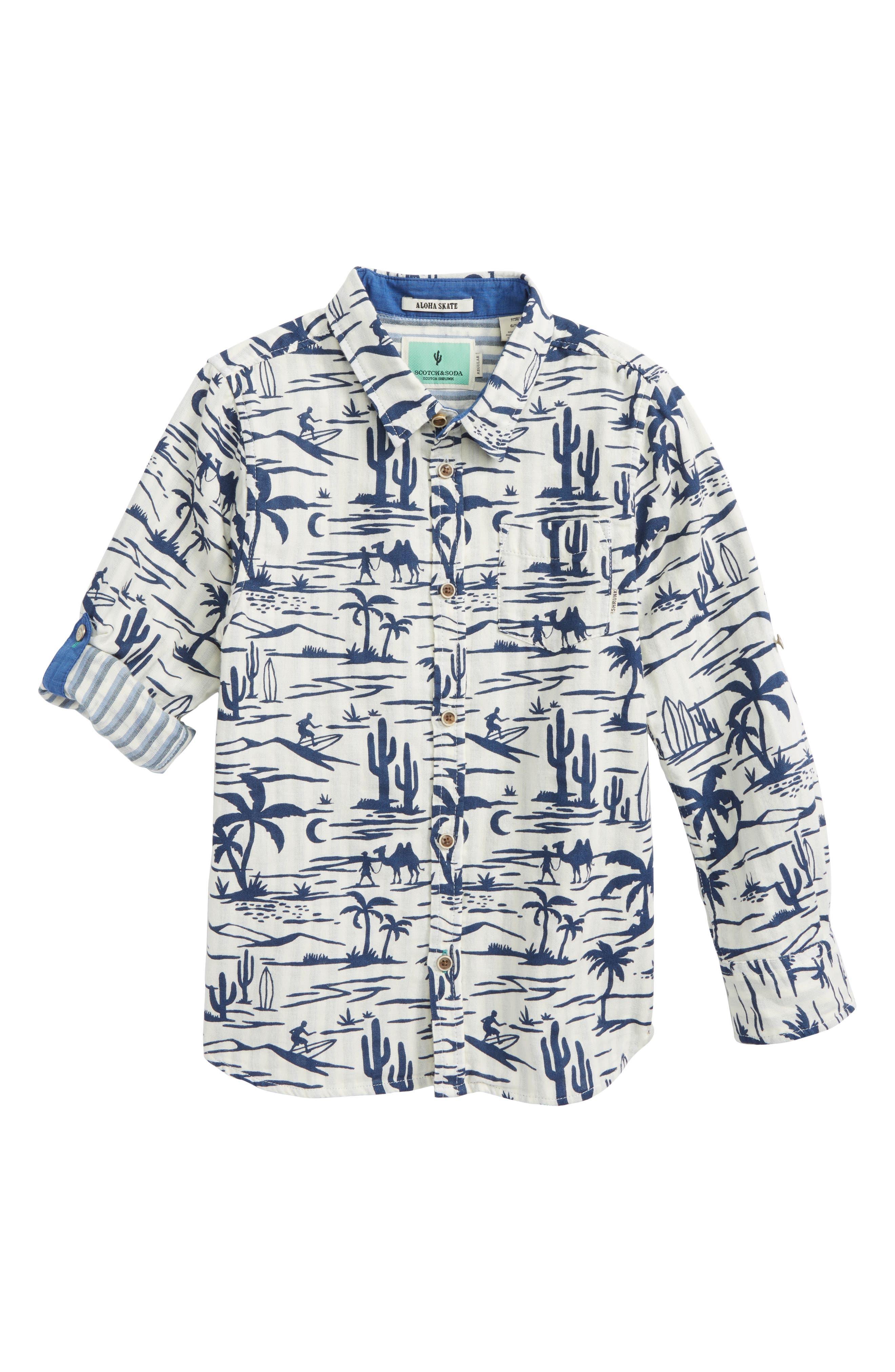 Graphic Woven Shirt,                         Main,                         color, Ecru/ Blue
