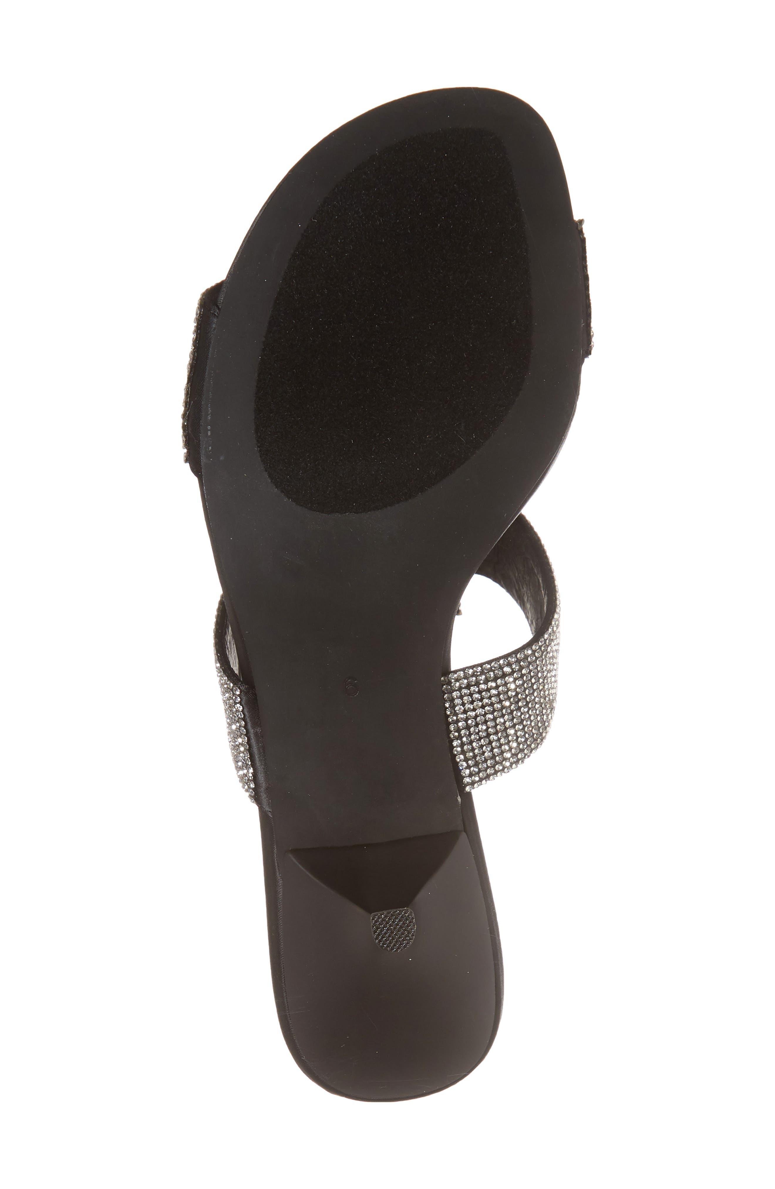 Tartine Embellished Slide Sandal,                             Alternate thumbnail 6, color,                             Black Satin/ Silver