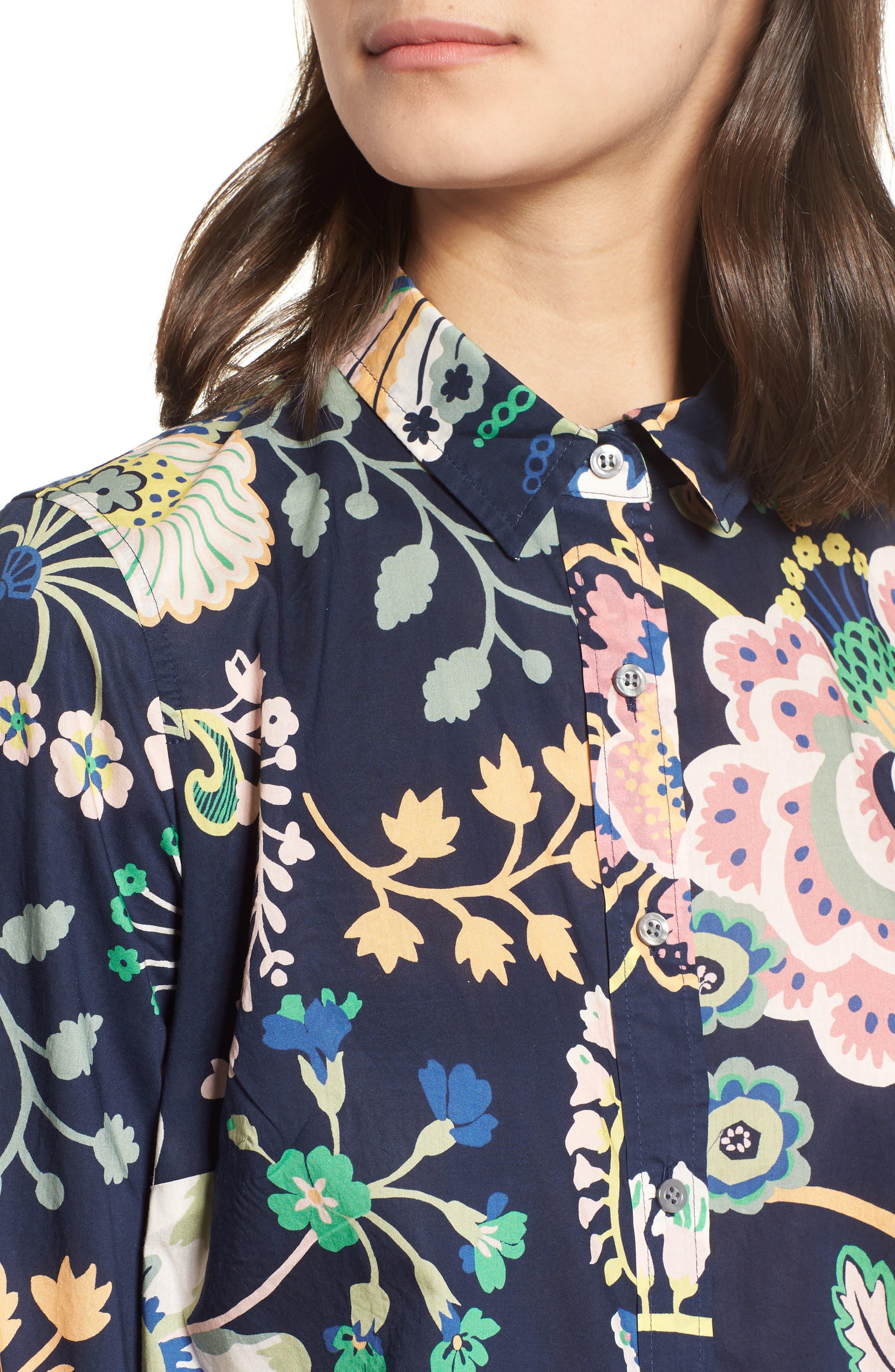 Perfect Liberty<sup>®</sup> Tana Lawn Shirt,                             Alternate thumbnail 4, color,                             Navy Multi