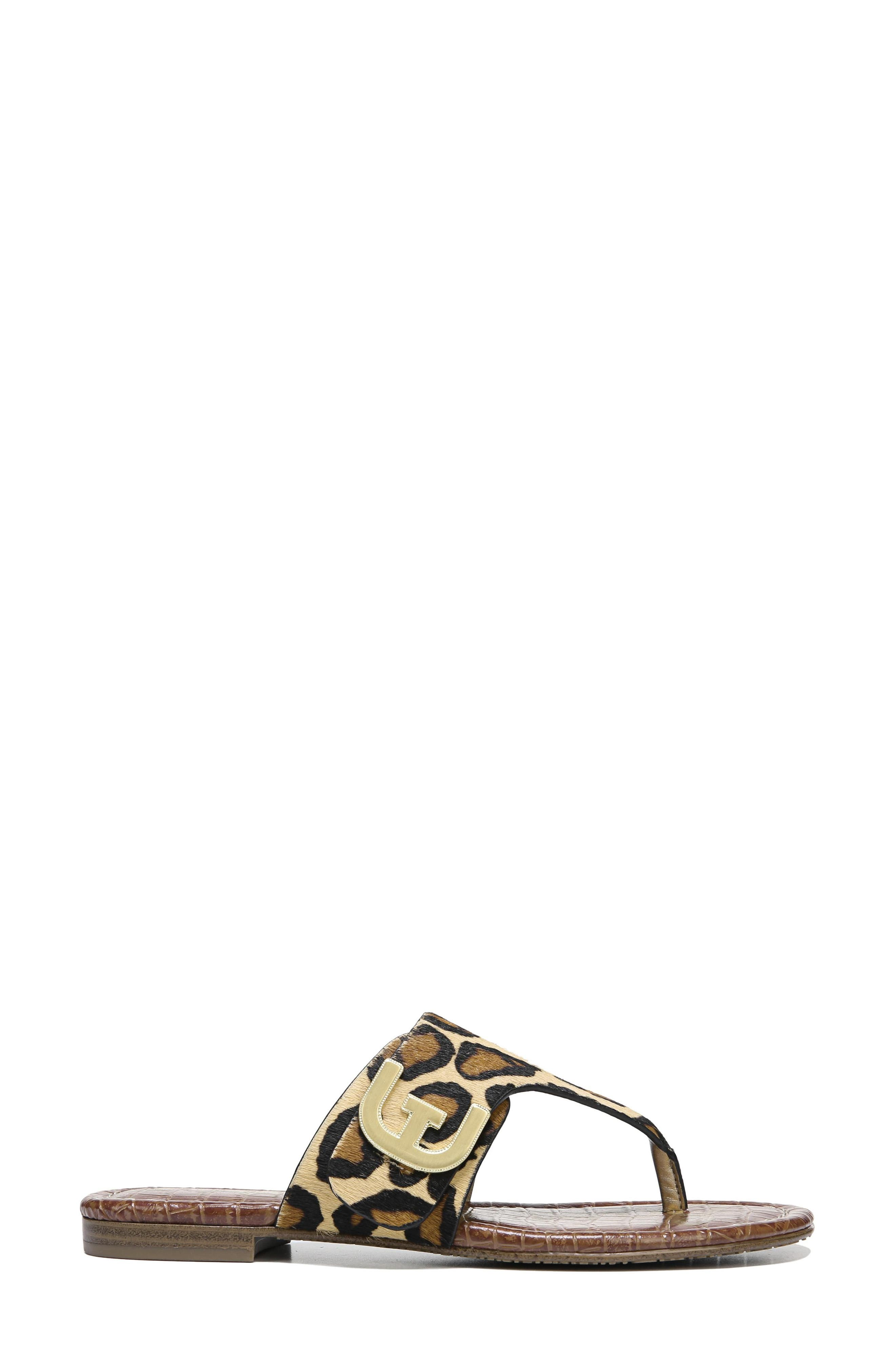 Barry Genuine Calf Hair V-Strap Sandal,                             Alternate thumbnail 3, color,                             New Nude Leopard Brahma Hair