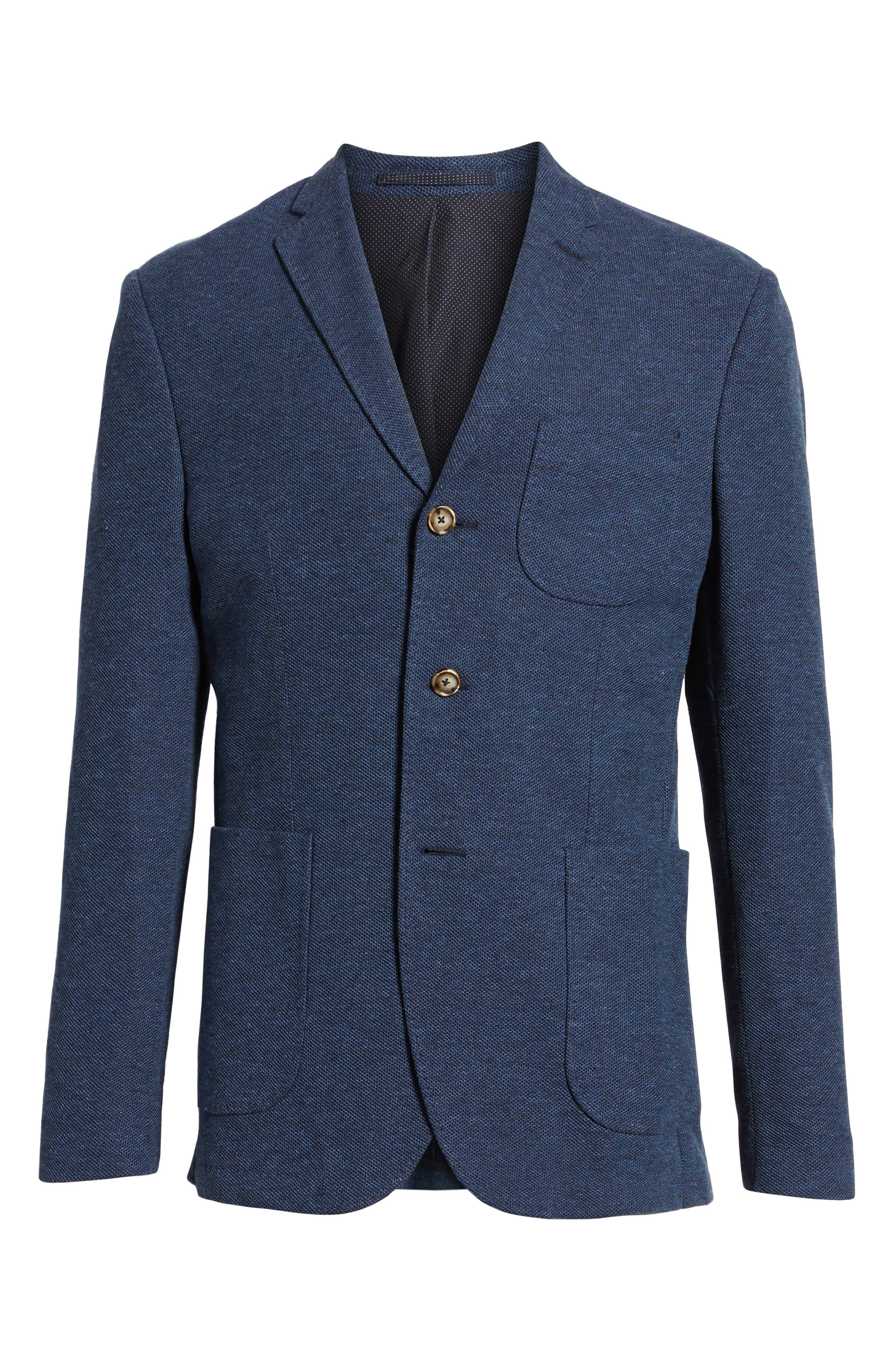 Trim Fit Cotton Blend Blazer,                             Alternate thumbnail 6, color,                             Mid Blue