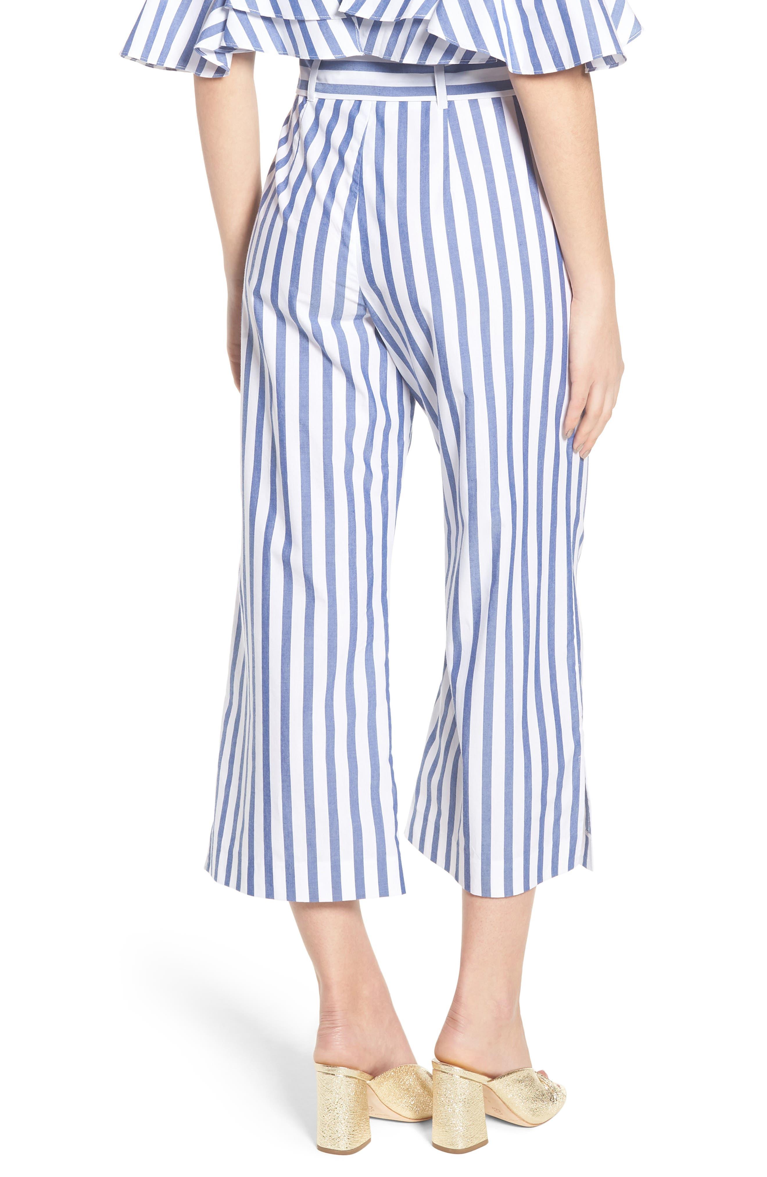 Aversa Crop Wide Leg Pants,                             Alternate thumbnail 3, color,                             Navy Stripe
