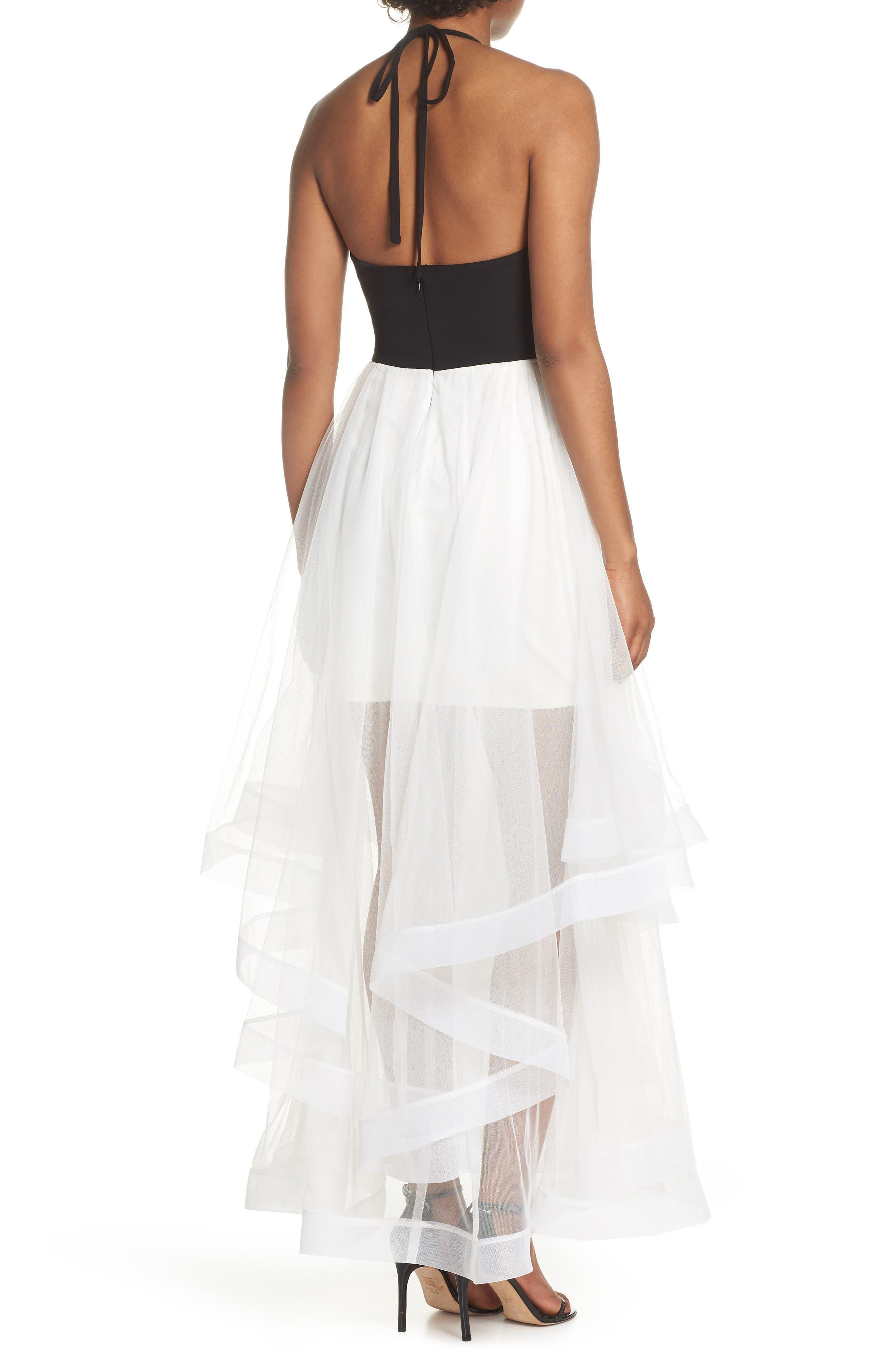 Appliqué Tiered Gown,                             Alternate thumbnail 2, color,                             Black/ Ivory