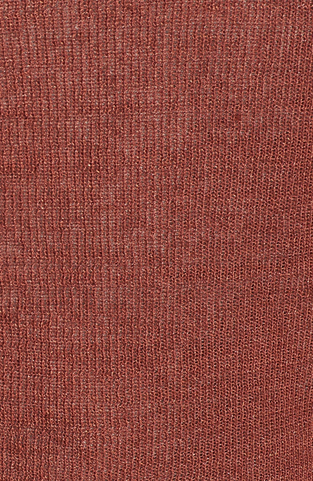 Tie Front Organic Linen Blend Cardigan,                             Alternate thumbnail 6, color,                             Russet
