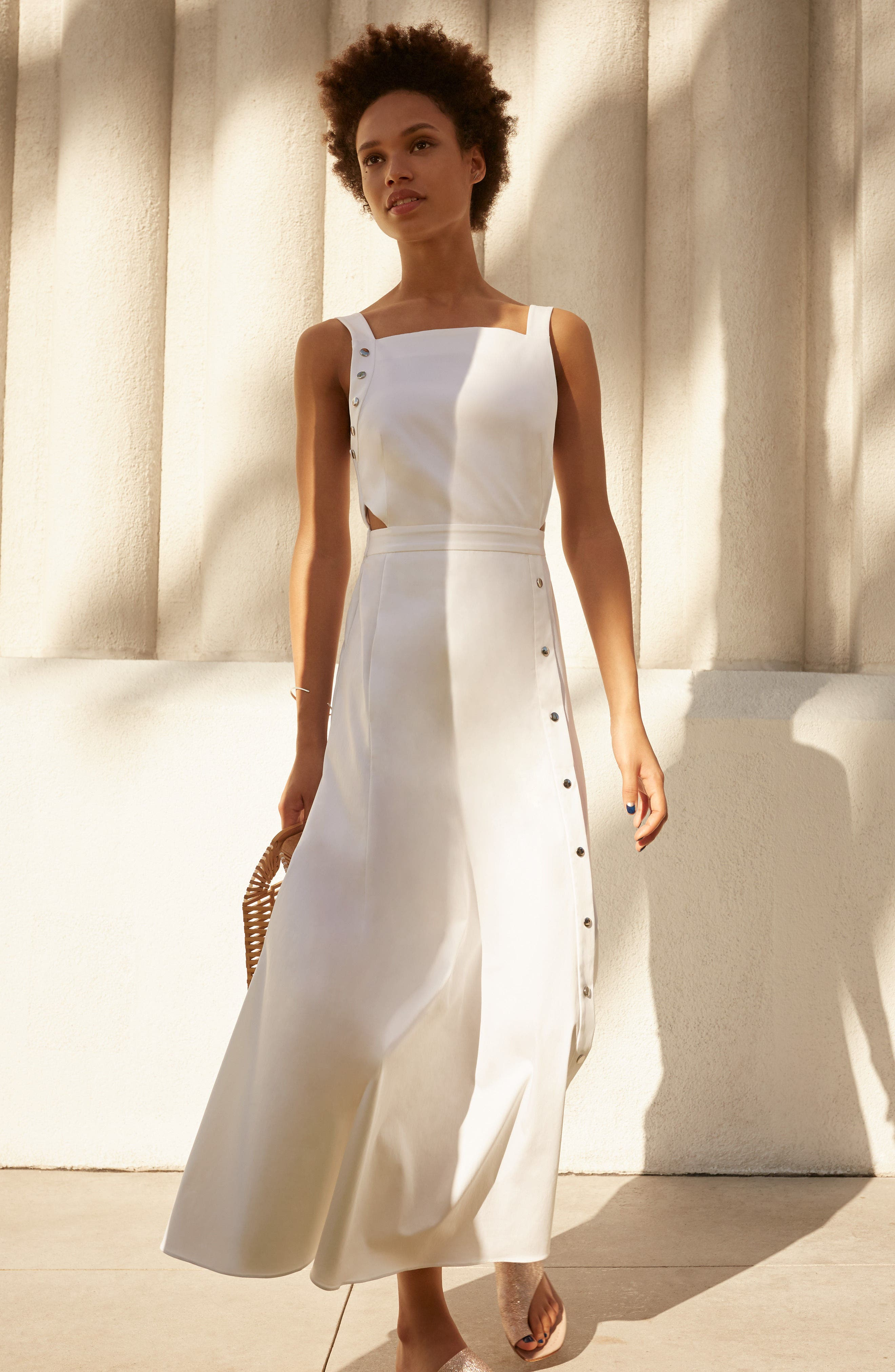 Crosby Snap Strappy Dress,                             Alternate thumbnail 2, color,                             White