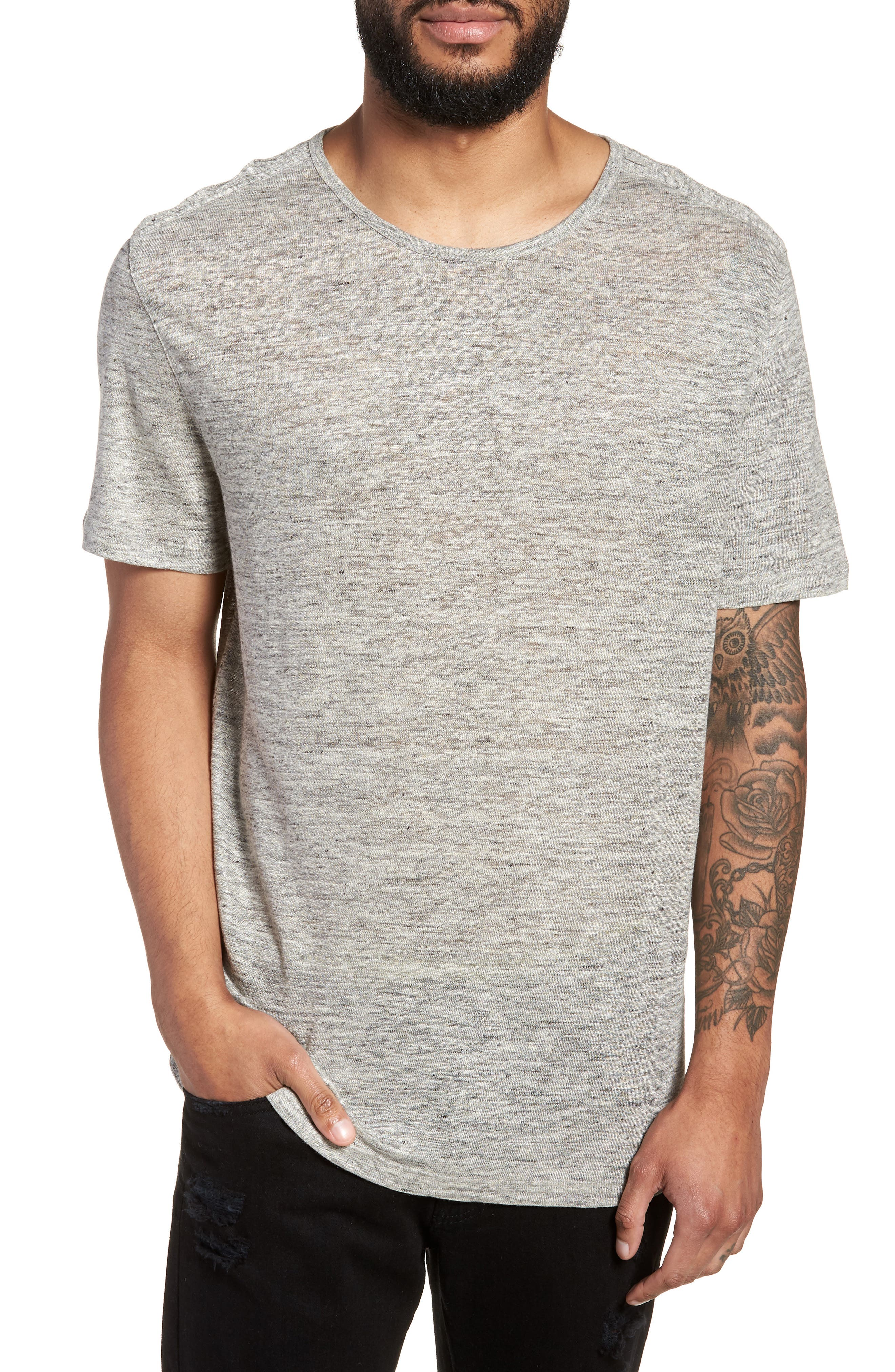 John Varvatos x Nick Jonas Linen T-Shirt,                         Main,                         color, Light Grey Heather