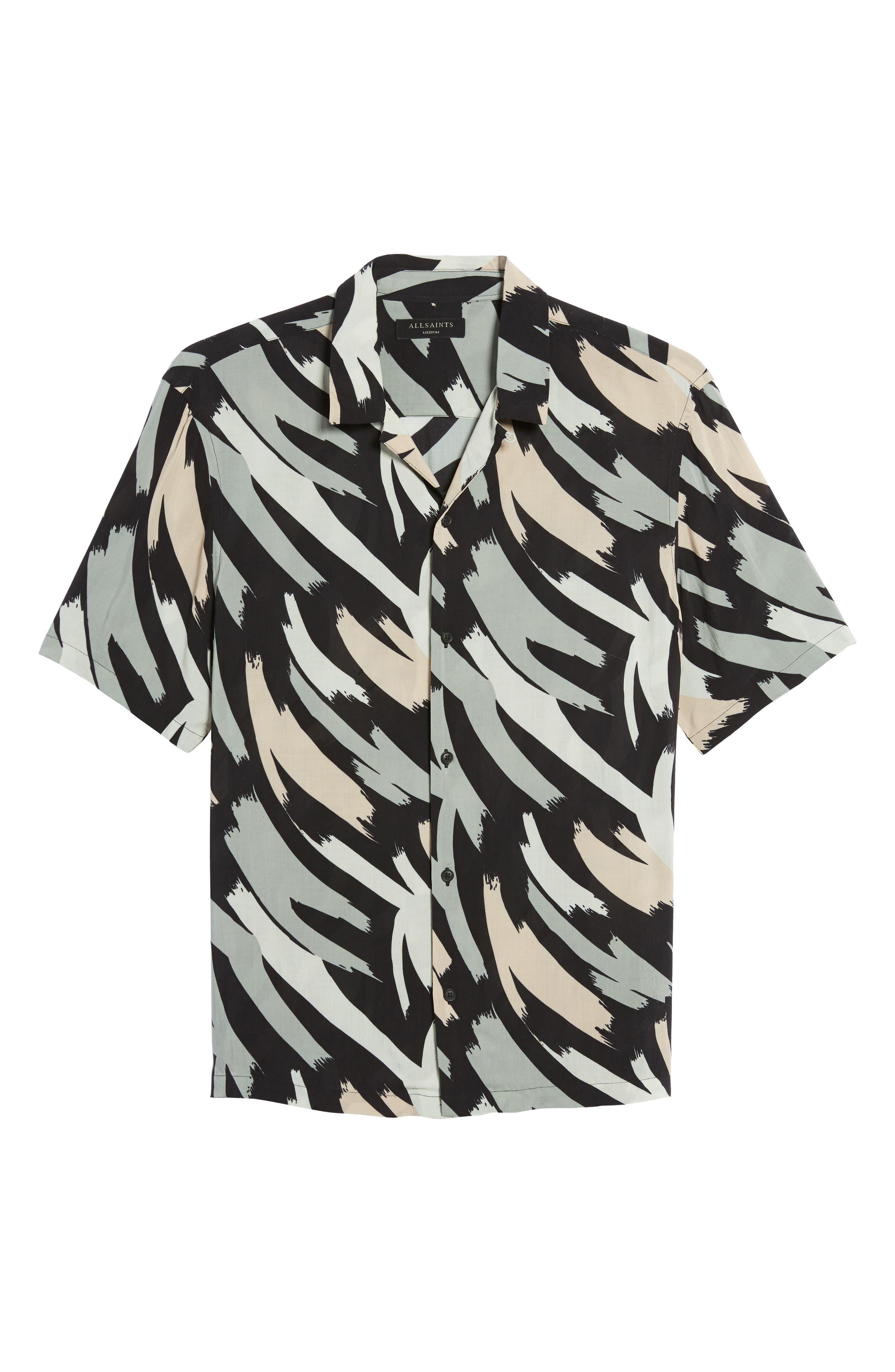 Rope Slim Fit Short Sleeve Sport Shirt,                             Alternate thumbnail 7, color,                             Black Camo
