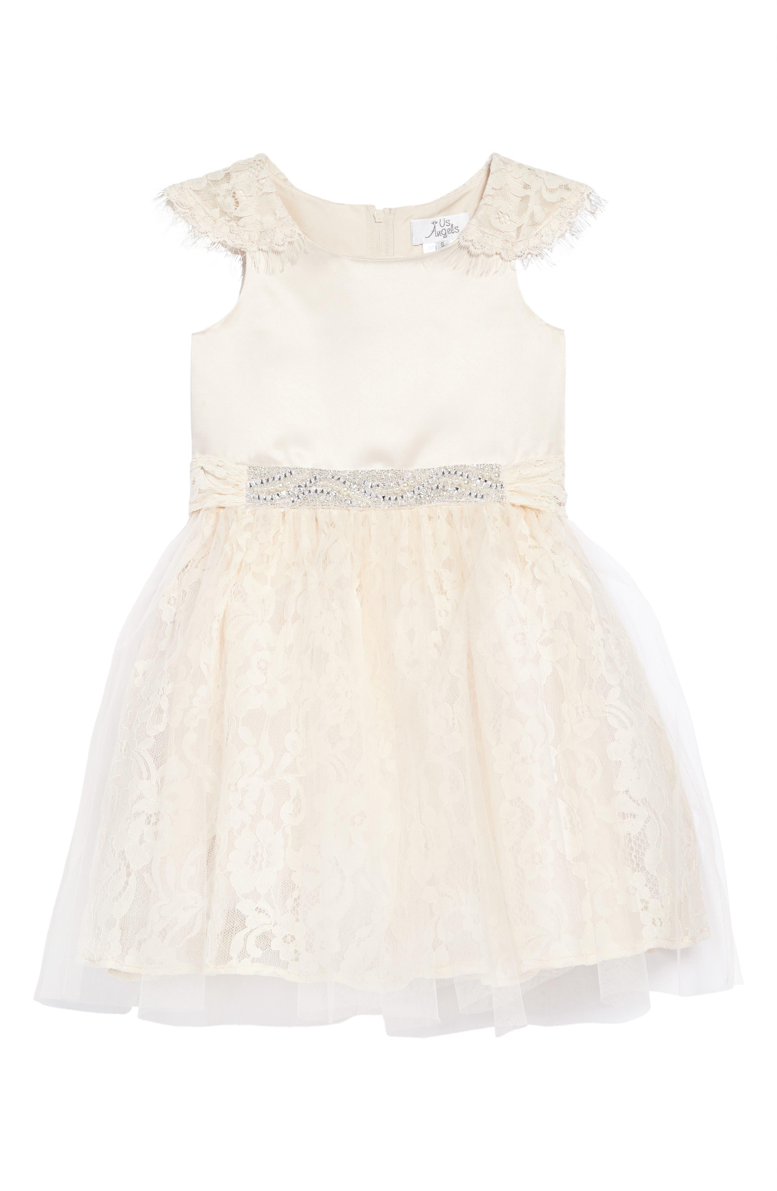 The Sarah Floral Lace Dress,                         Main,                         color, Champagne