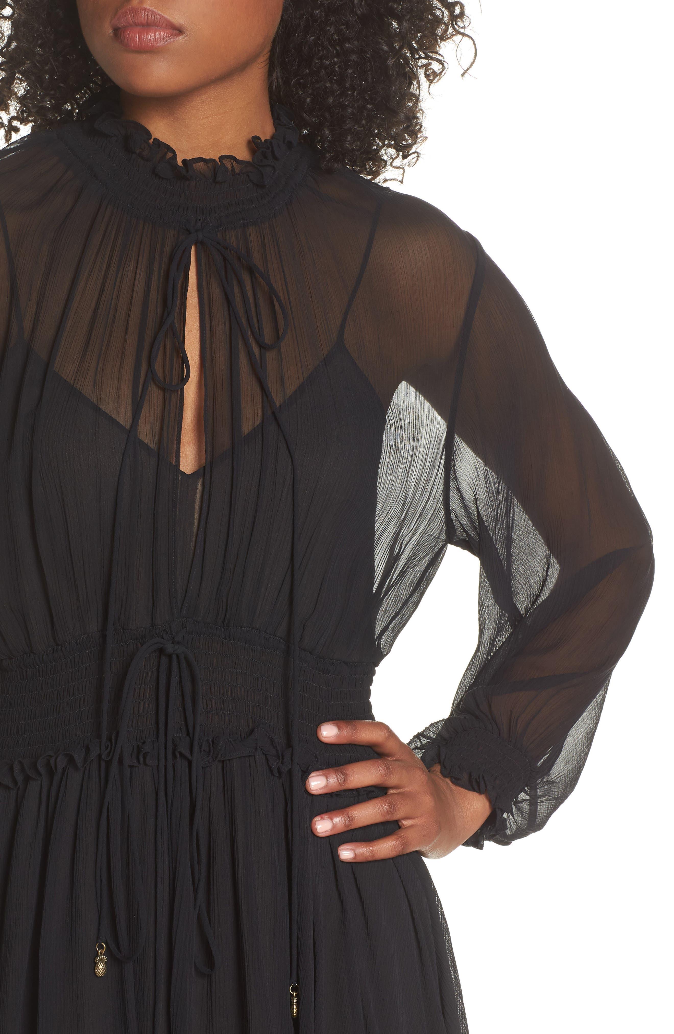 Classic Smocked Chiffon Dress,                             Alternate thumbnail 4, color,                             Black