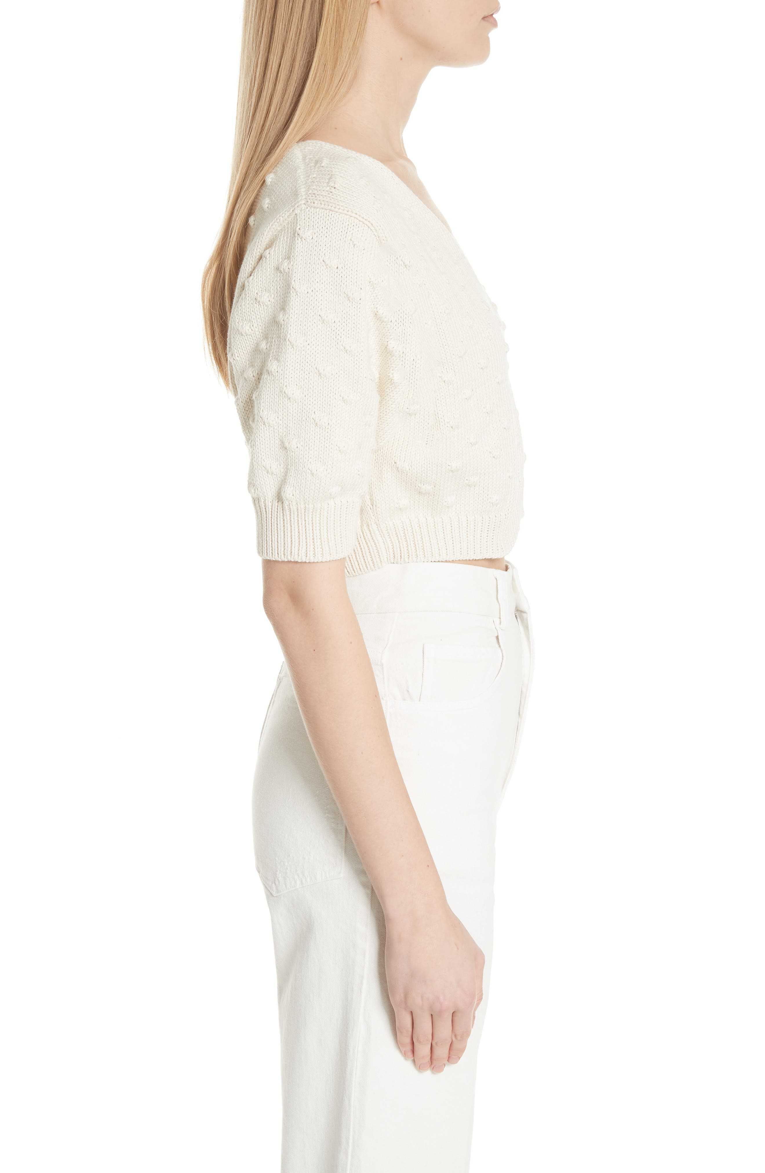 Ode Garbanzo Knit Crop Sweater,                             Alternate thumbnail 3, color,                             Ivory
