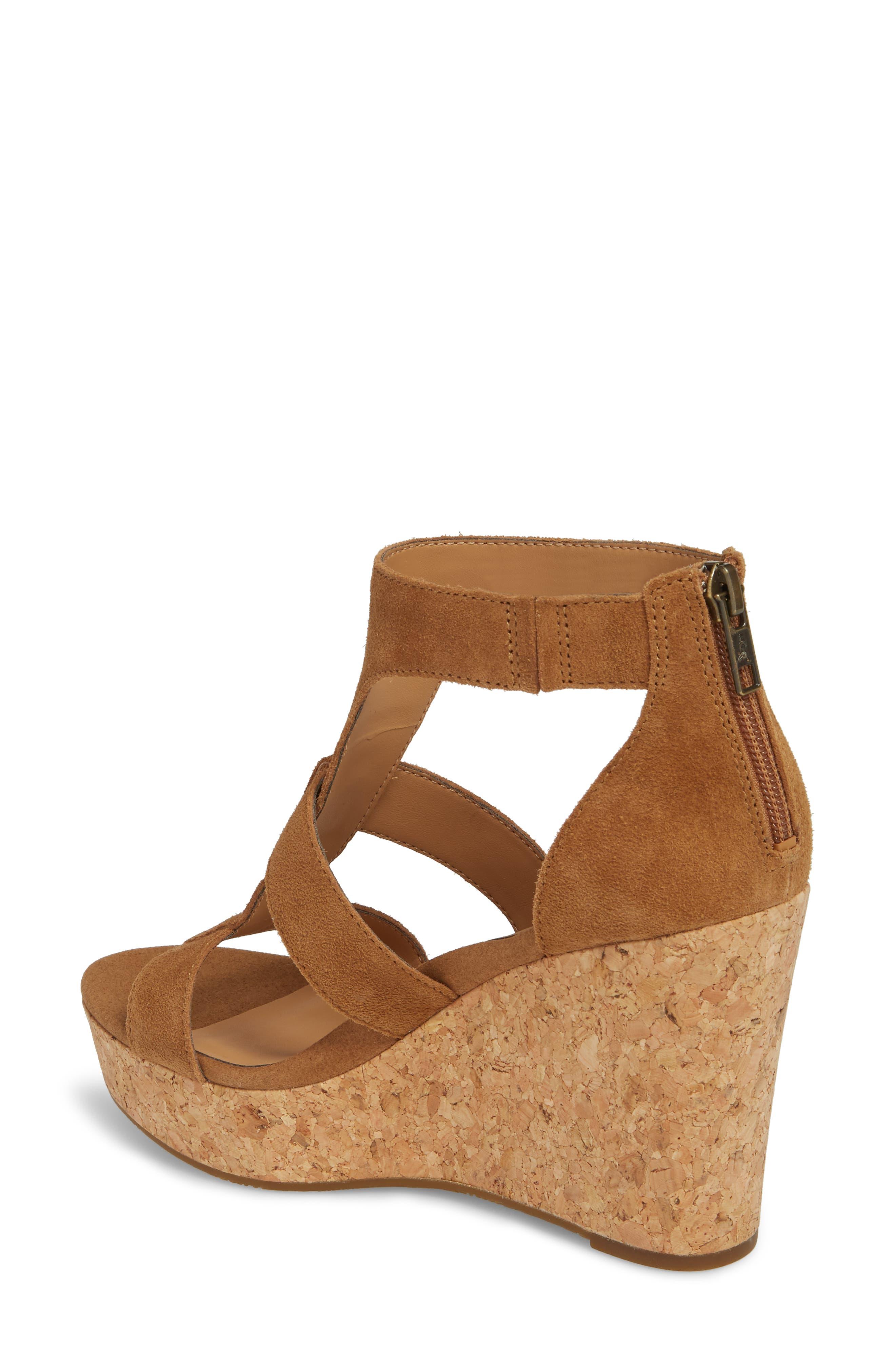 Whitney Platform Wedge Sandal,                             Alternate thumbnail 2, color,                             Chestnut