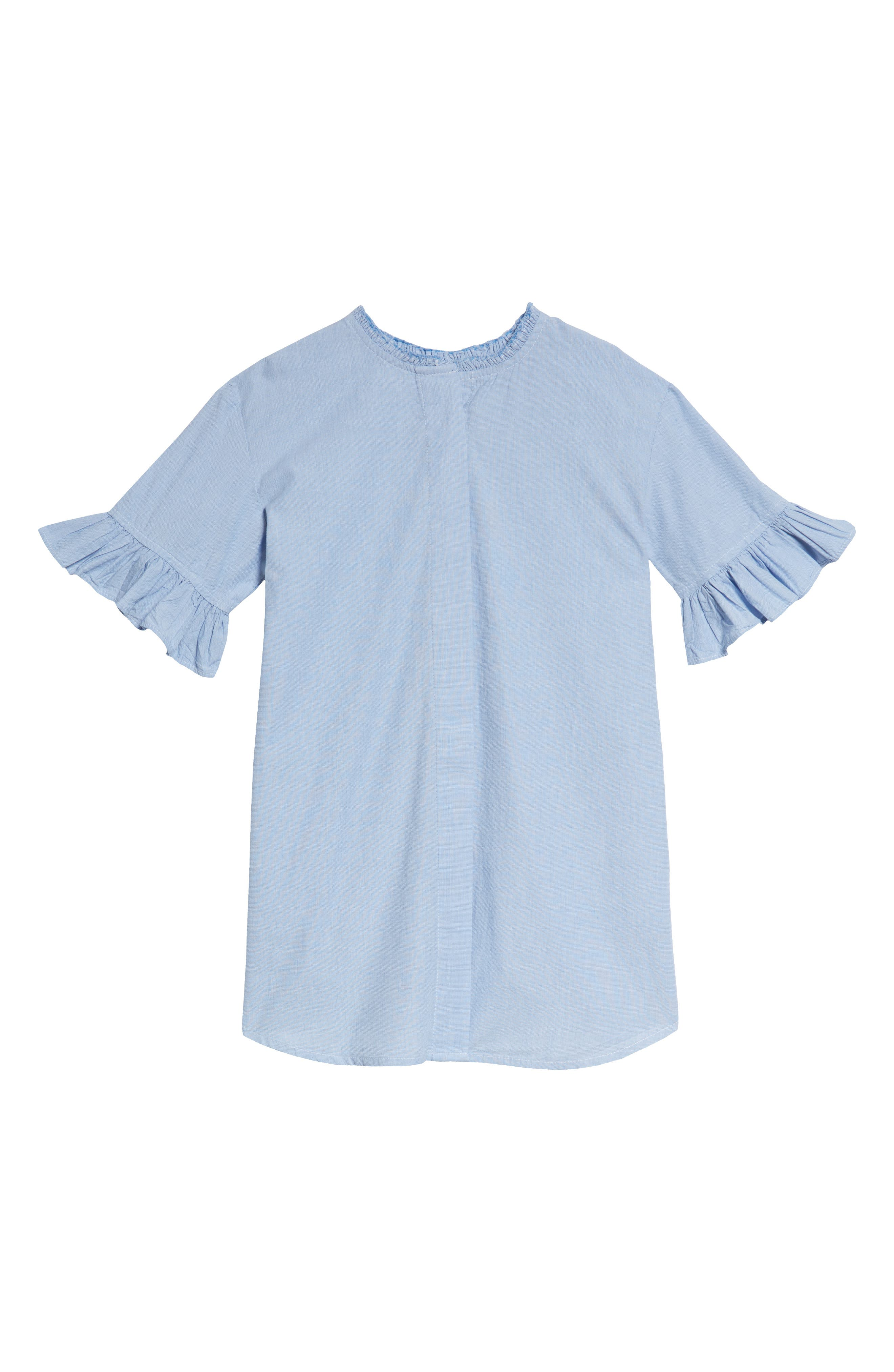 Ruffle Shirtdress,                             Main thumbnail 1, color,                             Blue Chambray Grid